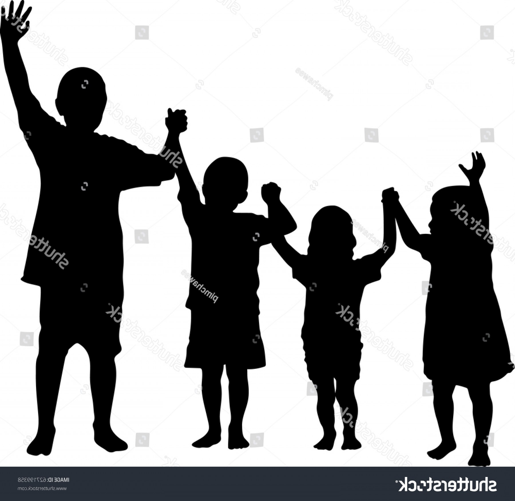 Holding Hands Up Silhouette Vector: Silhouette Vector Children Holding Hands
