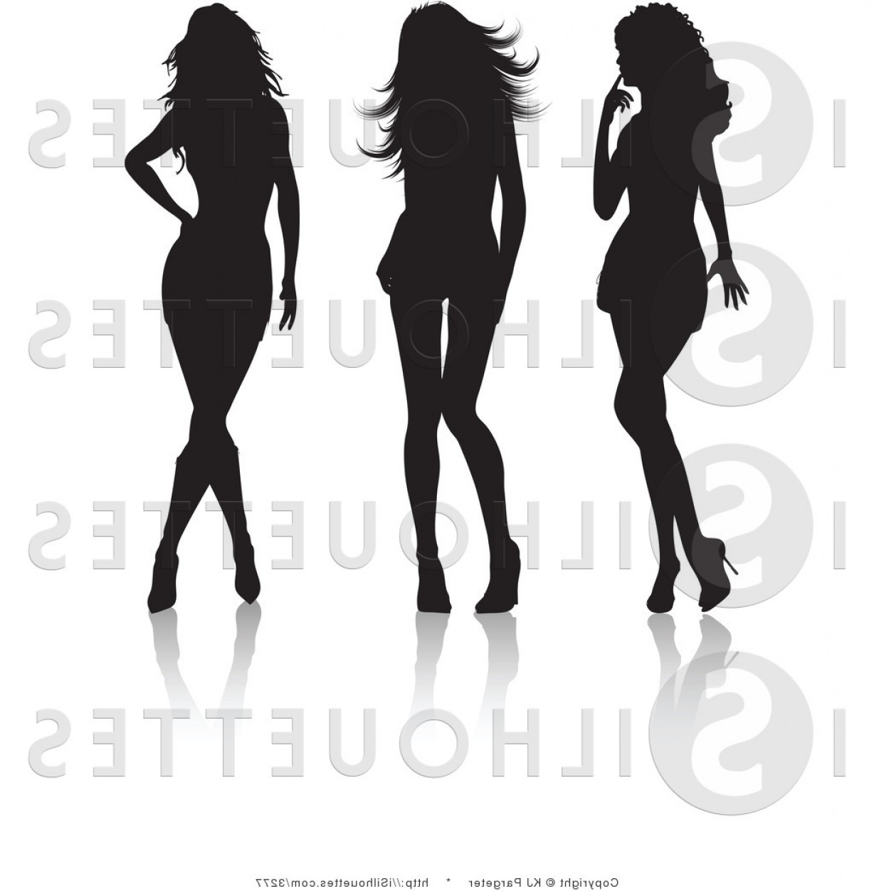 Sexy Silhouette Vector Art: Silhouette Vector Clipart Of Three Sexy Women By Kj Pargeter