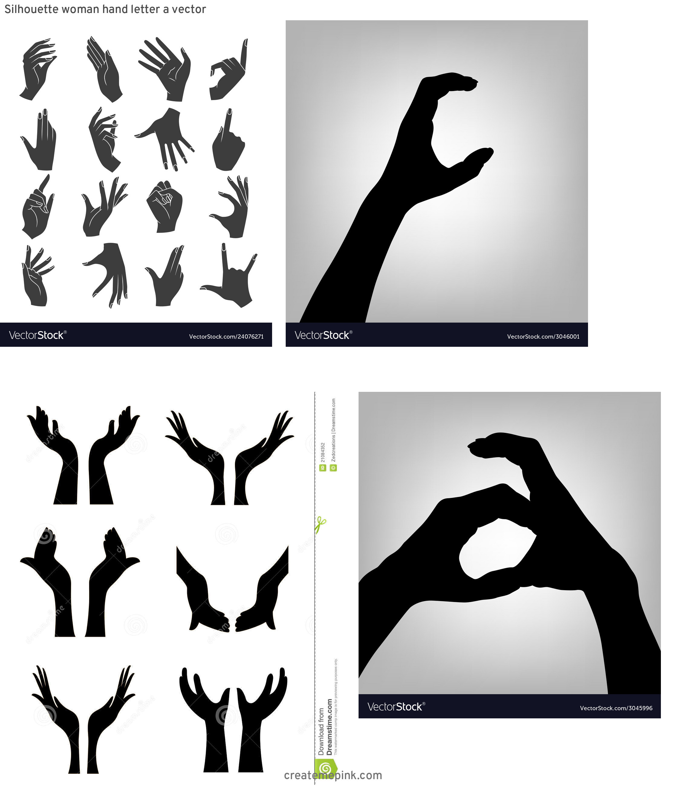 Female Hand Silhouette Vector: Silhouette Woman Hand Letter A Vector