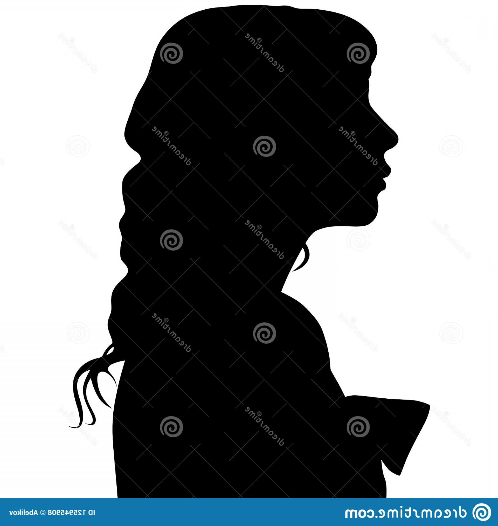 Soldier Woman Profile Vector: Silhouette Woman Profile White Background Your Design Image