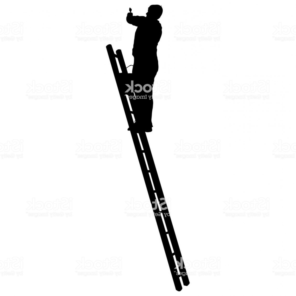 Ladder Silhouette Vector: Silhouette Worker Climbing The Ladder On White Background Gm