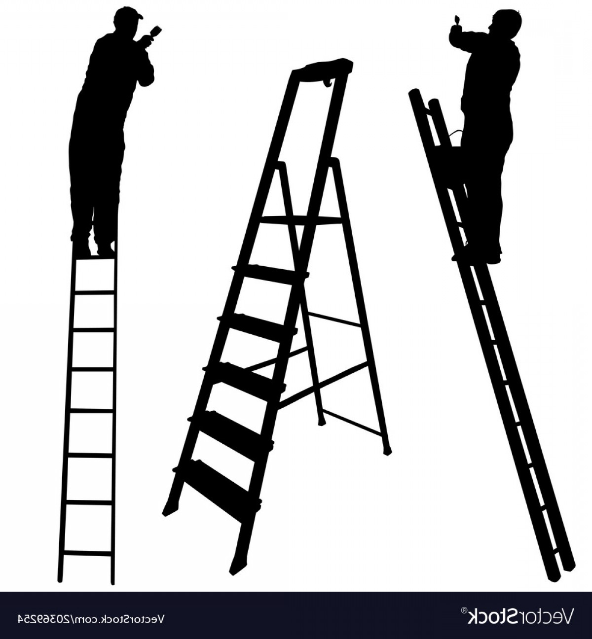 Ladder Silhouette Vector: Silhouette Worker Climbing The Ladder On White Vector