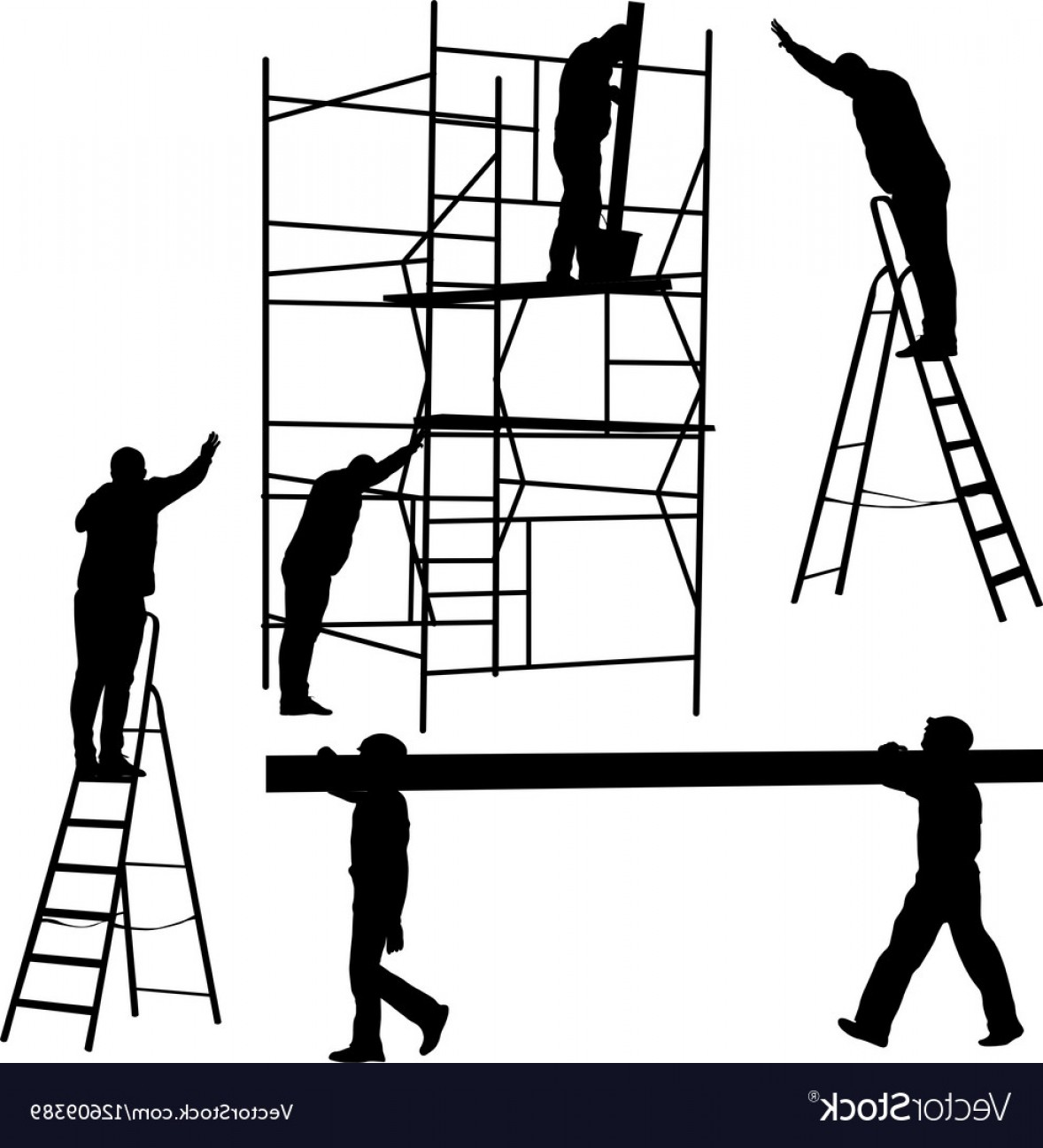 Stair Climb Vector: Silhouette Worker Climbing The Ladder Vector