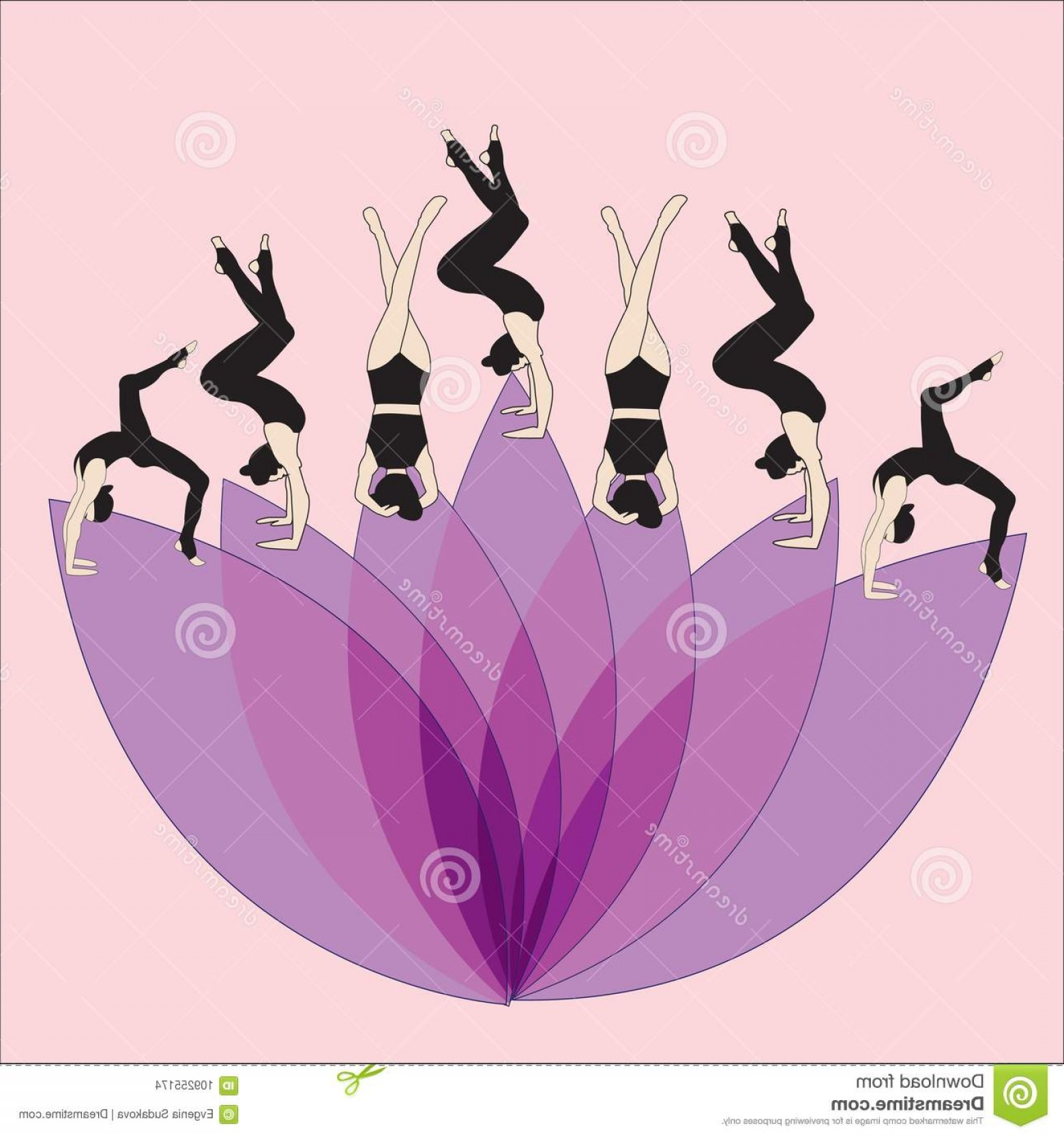 Color Guard Silhouette Vector: Silhouette Young Woman Practicing Yoga Girl Pilates Vector Abstract Background Lotus Icon Image