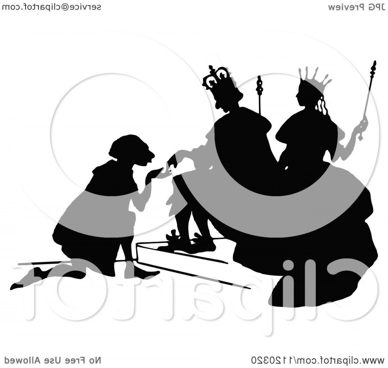 King And Queen Vector: Silhouetted Man Kneeling To The King And Queen