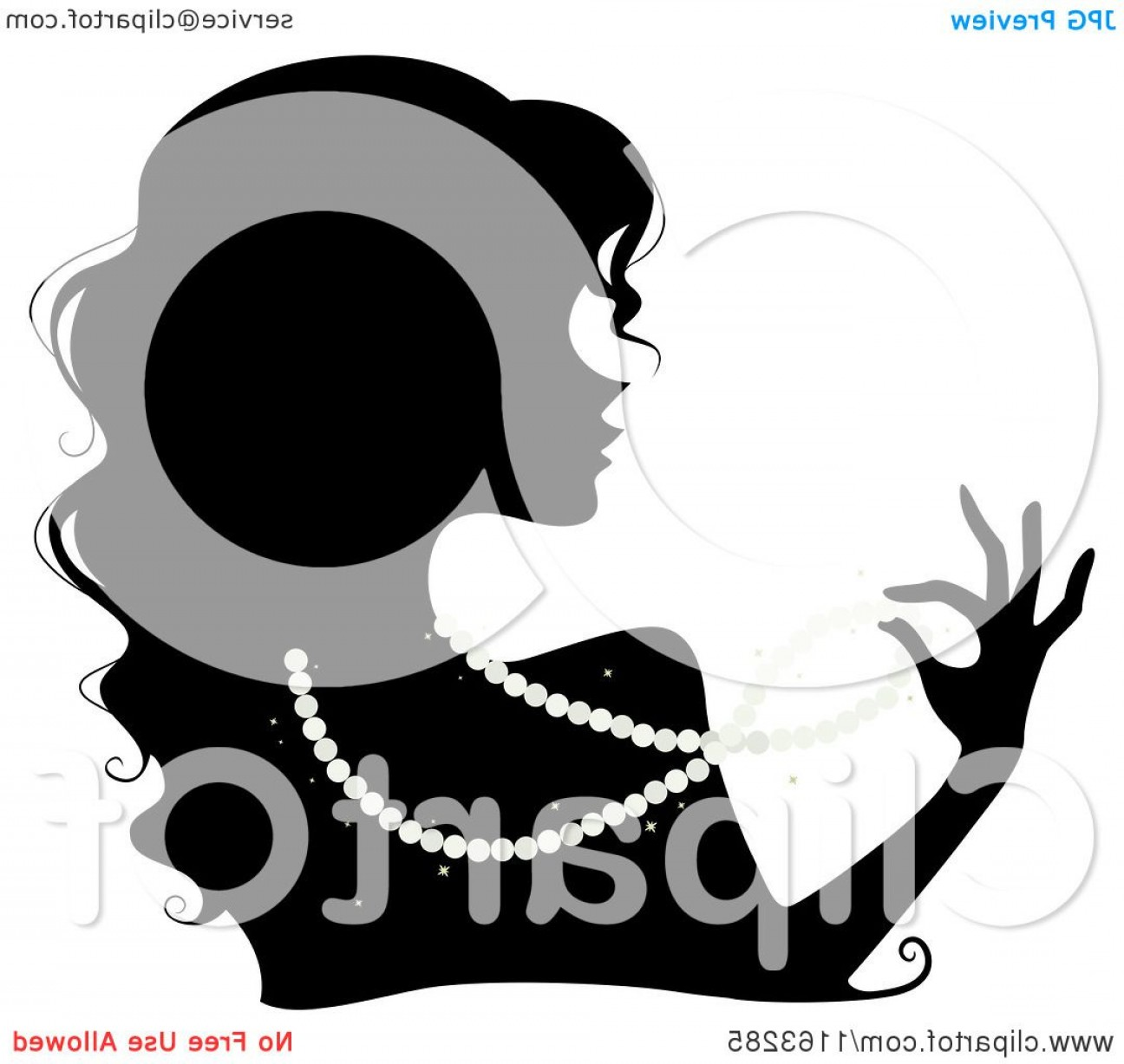 Pearl Necklace Vector Clip Art: Silhouetted Woman Wearing A Pearl Necklace