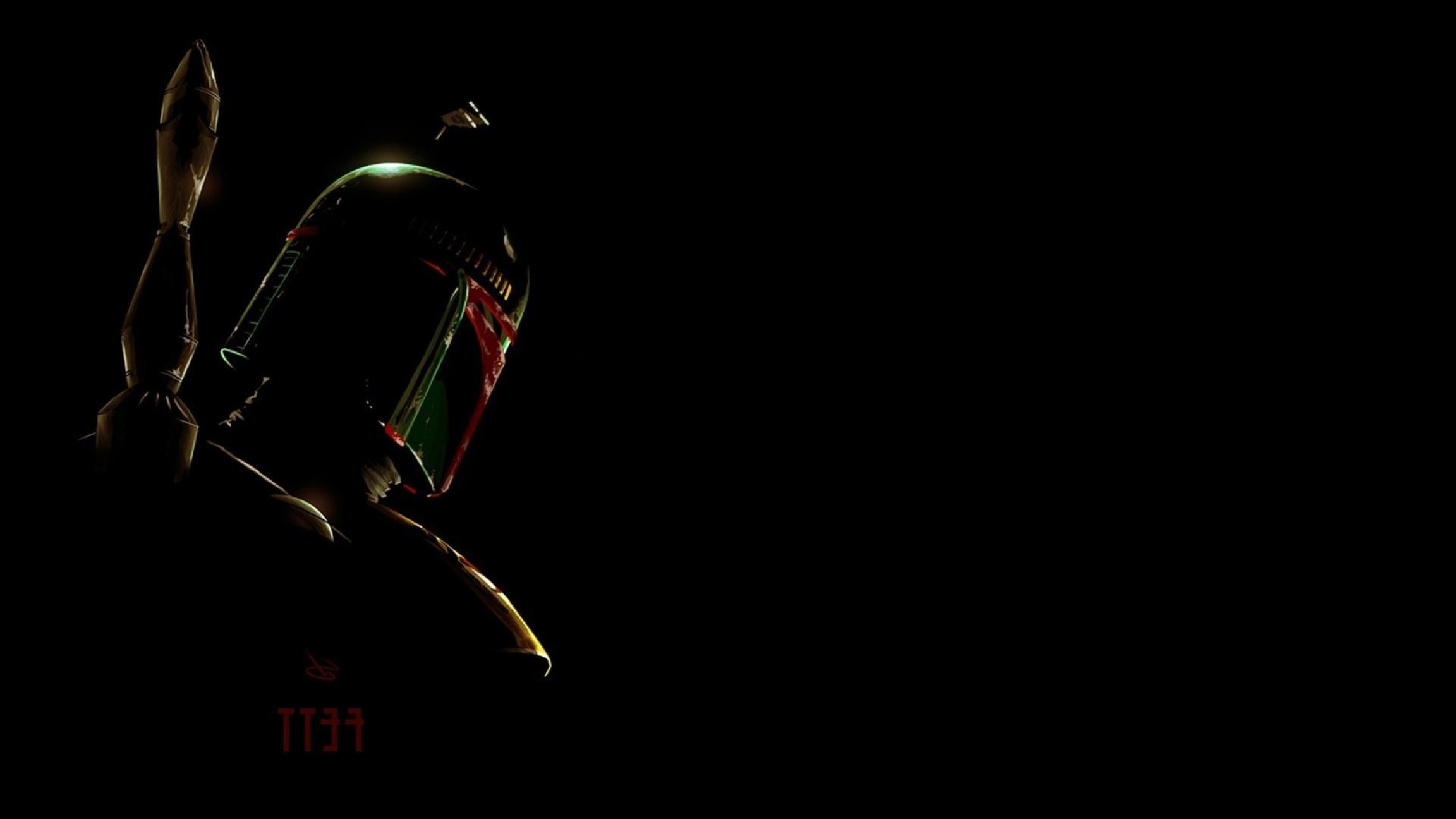 Boba Fett Vector Black And White: Silhouettes Boba Fett Bounty Hunter Black Background Wallpaper