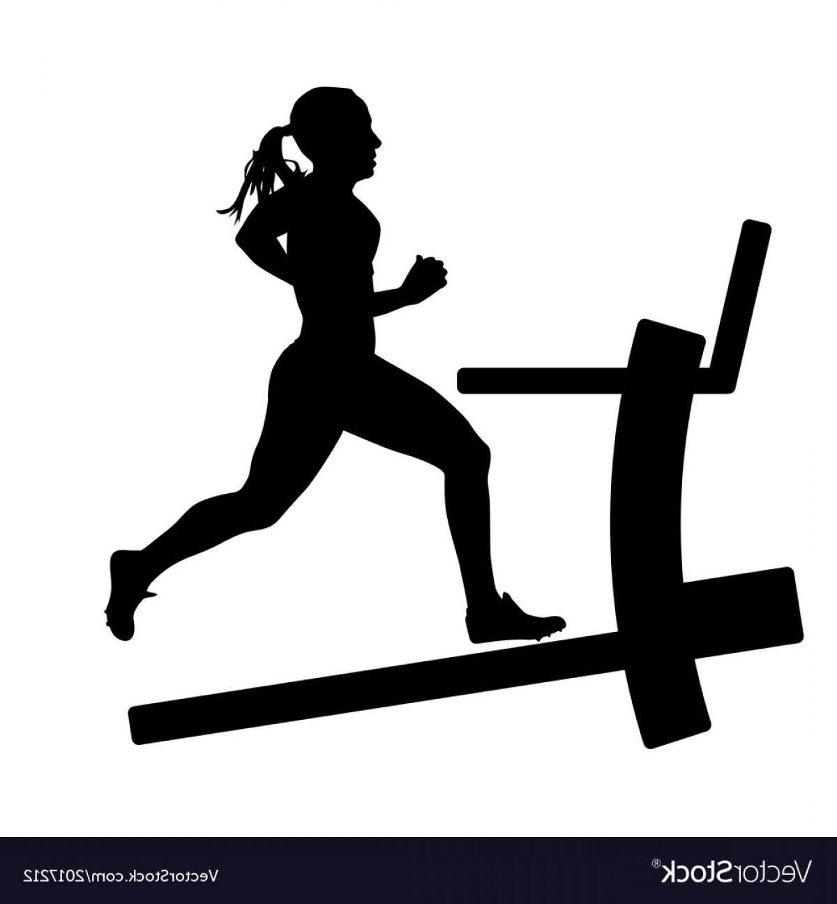Vector Silhouette Of Girl Running Track: Silhouettes Girl Running On The Treadmill Vector