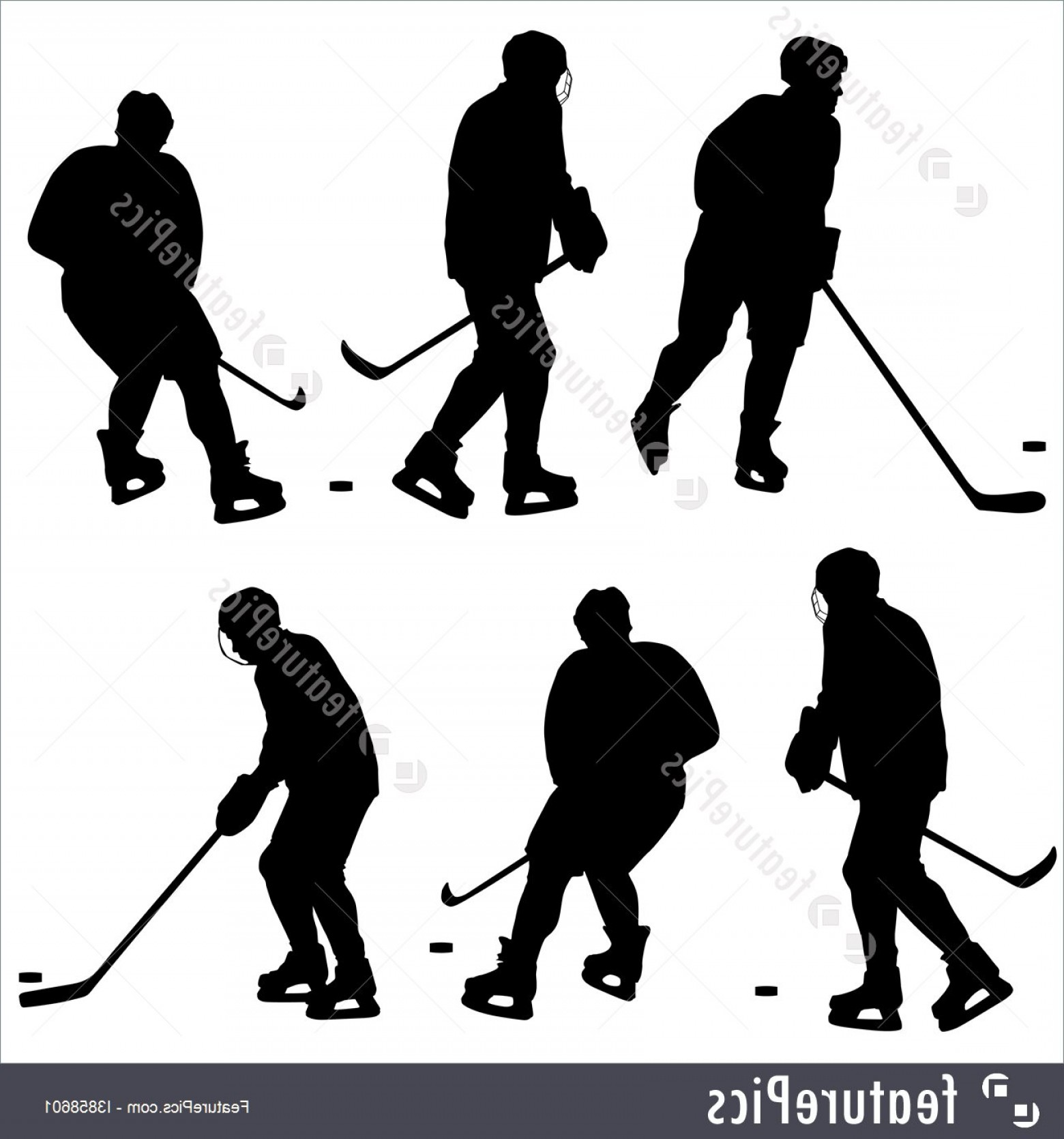 Hockey Player Silhouette Vector: Silhouettes Hockey Player Isolated White