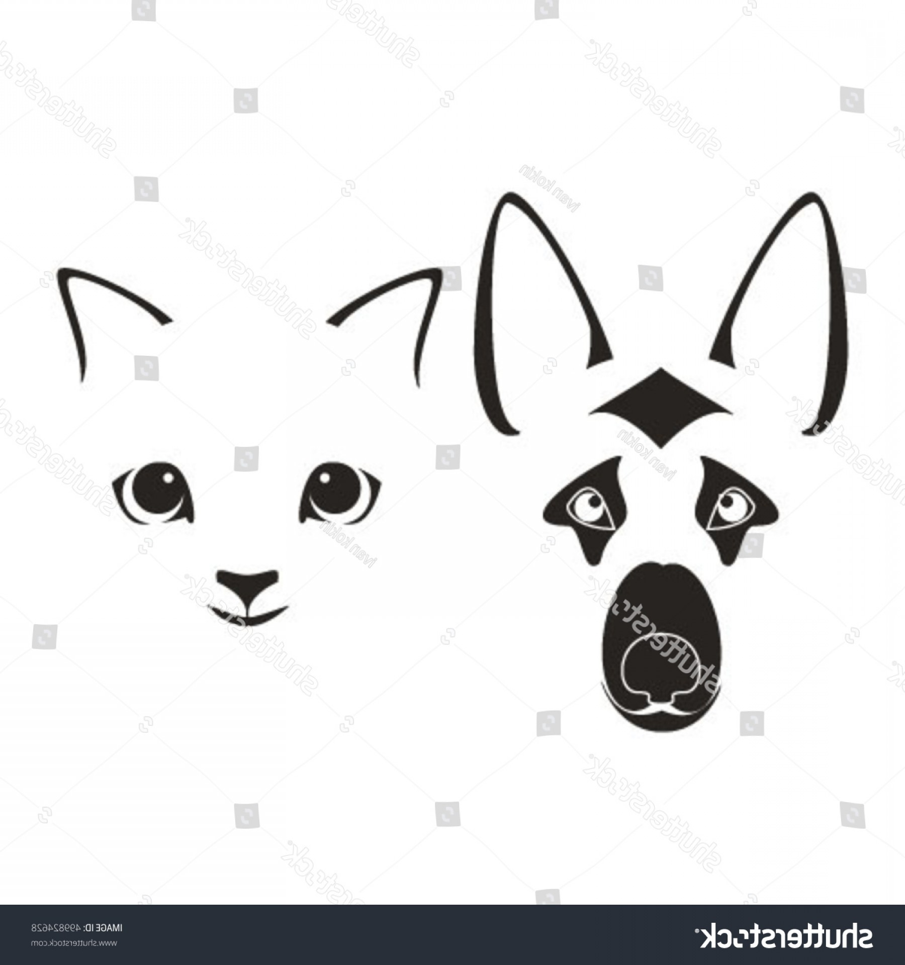 Dog And Cat Vector Illustration: Silhouettes Muzzles Dog Cat Vector Illustration