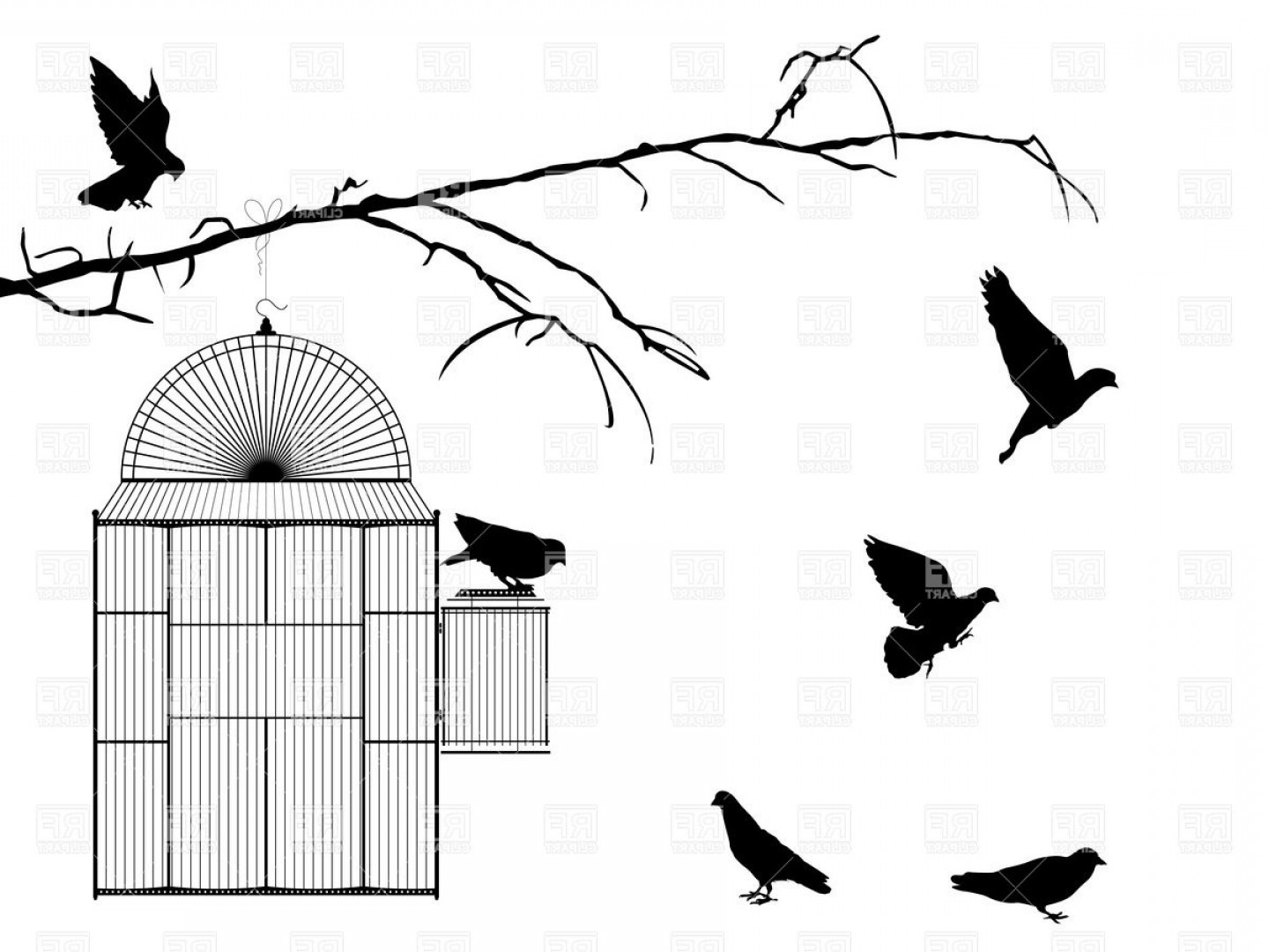 Black And White Bird Free Vector Graphics: Silhouettes Of Birds And Open Cage On The Branch Vector Clipart
