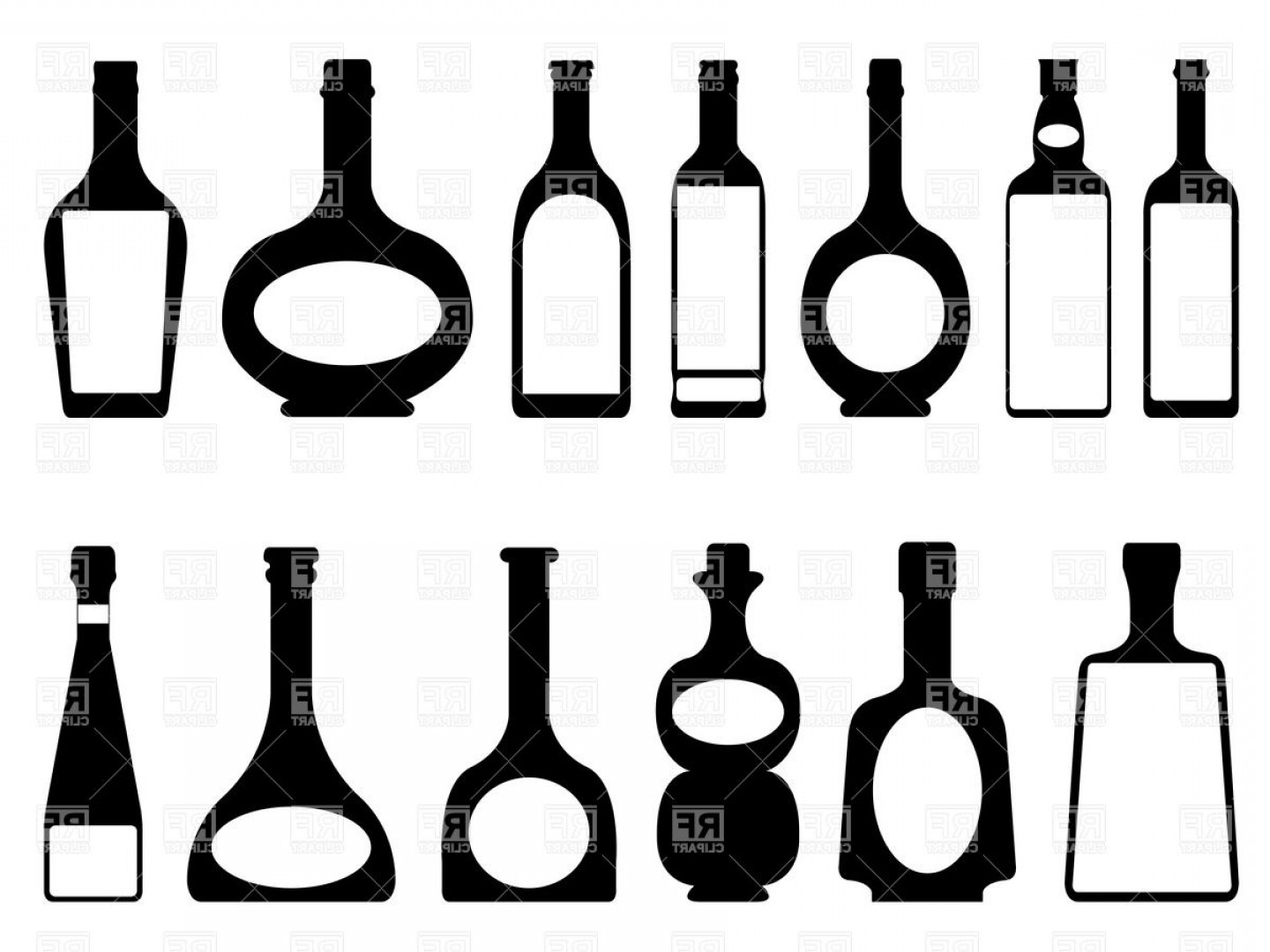 Alcohol Vector: Silhouettes Of Bottles Of Alcohol Vector Clipart