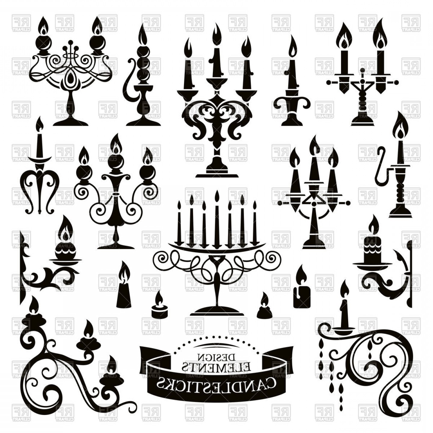 Candle Vector Black: Silhouettes Of Candlesticks And Candles Vector Clipart