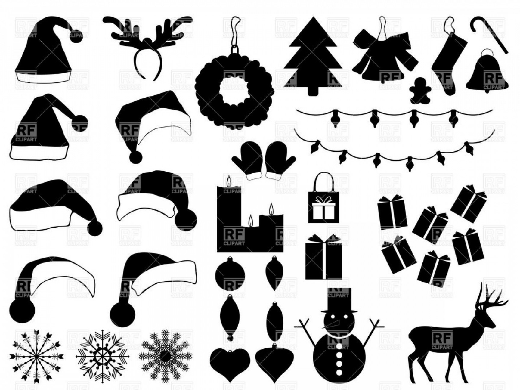 Blackhawk Vector MedVac: Silhouettes Of Christmas Hats And Decorations Xmas Icons Vector Clipart