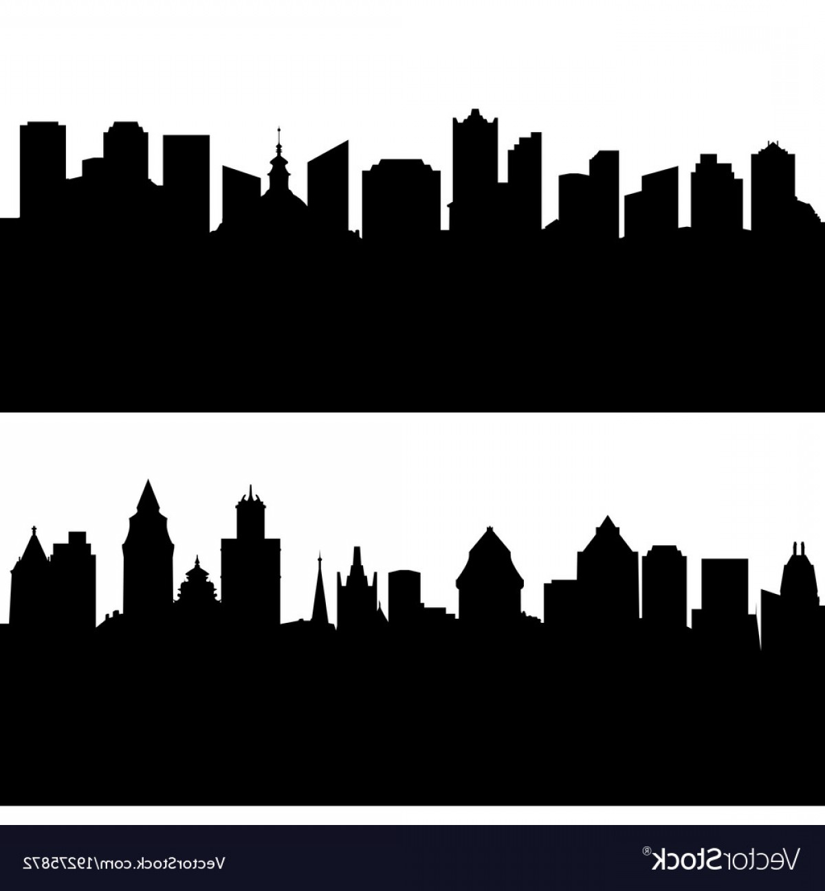 City Vector: Silhouettes Of European City Vector