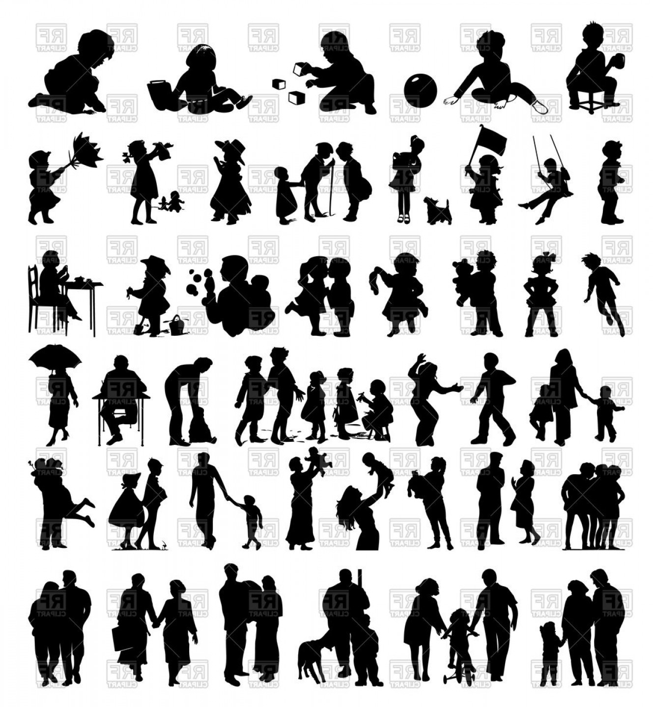 Family Silhouette Vector Art: Silhouettes Of Family And Children Vector Clipart