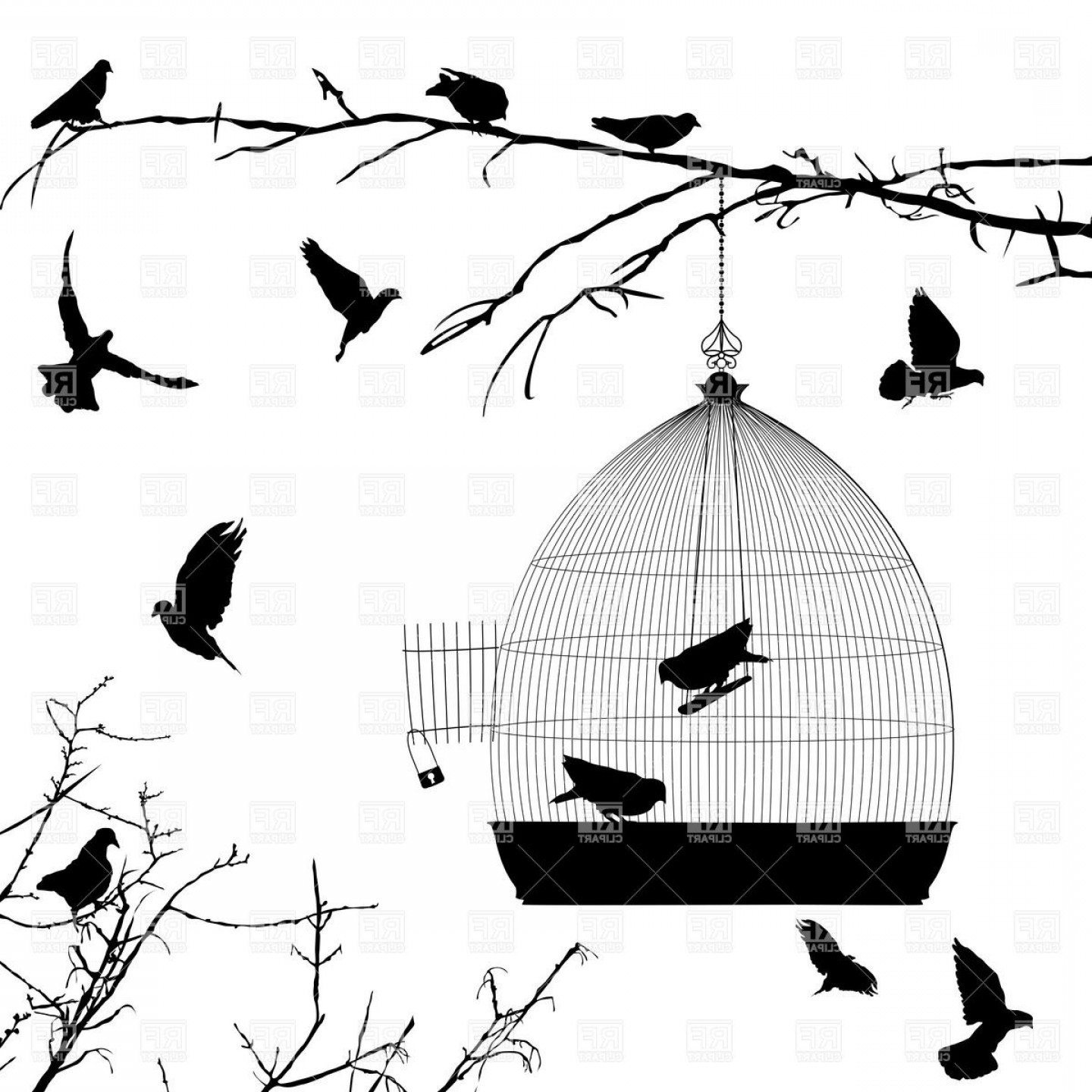 Black And White Bird Free Vector Graphics: Silhouettes Of Flying Birds And Birdcage On Branch Of Dry Tree Vector Clipart