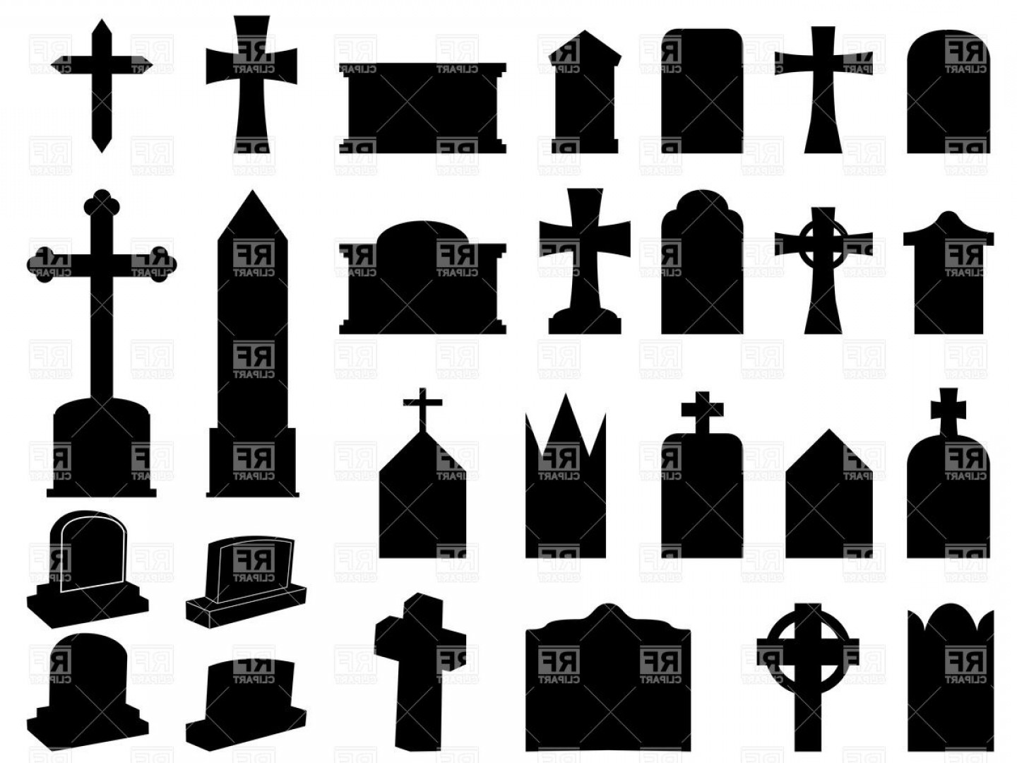Gravestone Outline Vector: Silhouettes Of Funerary Gravestones Tombstone And Crosses Vector Clipart