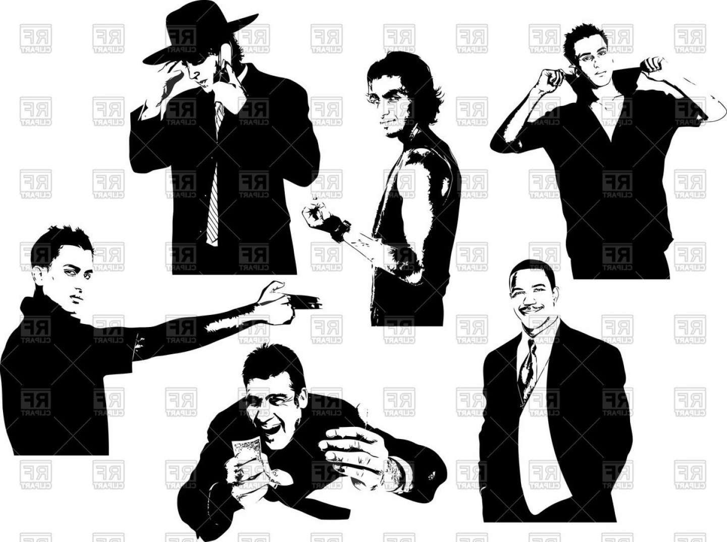 Handsome Man Vector Outline: Silhouettes Of Handsome Men Bandits And Gangsters Vector Clipart