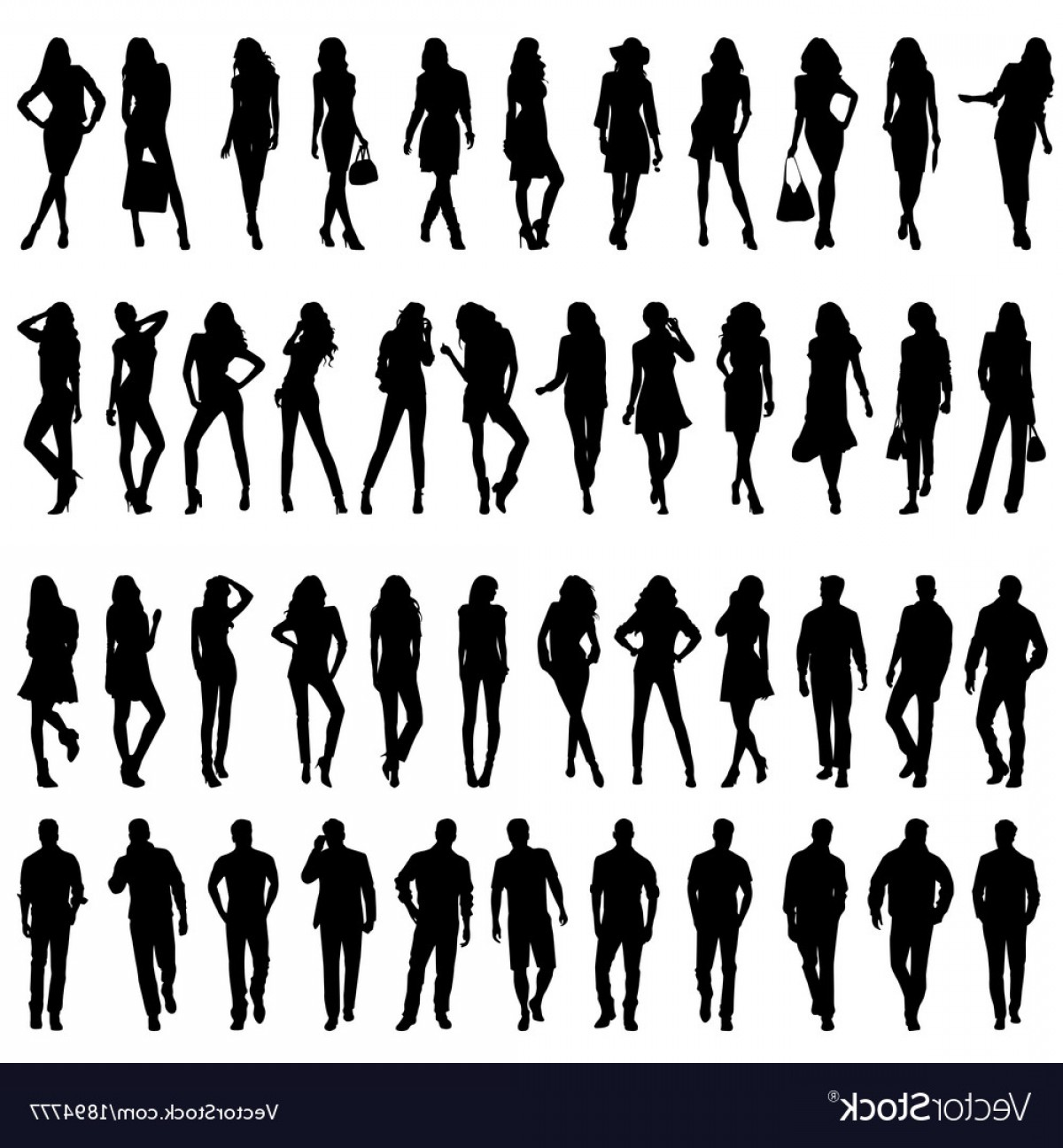 Young Woman Silhouette Vector: Silhouettes Of Happy Young Women And Men Vector