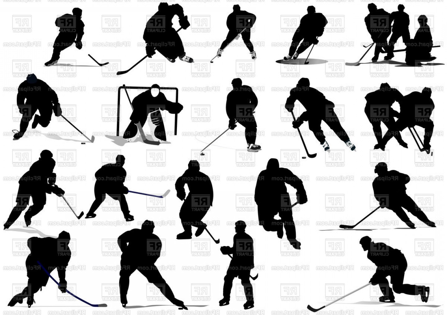 Hockey Player Silhouette Vector: Silhouettes Of Ice Hockey Players Vector Clipart
