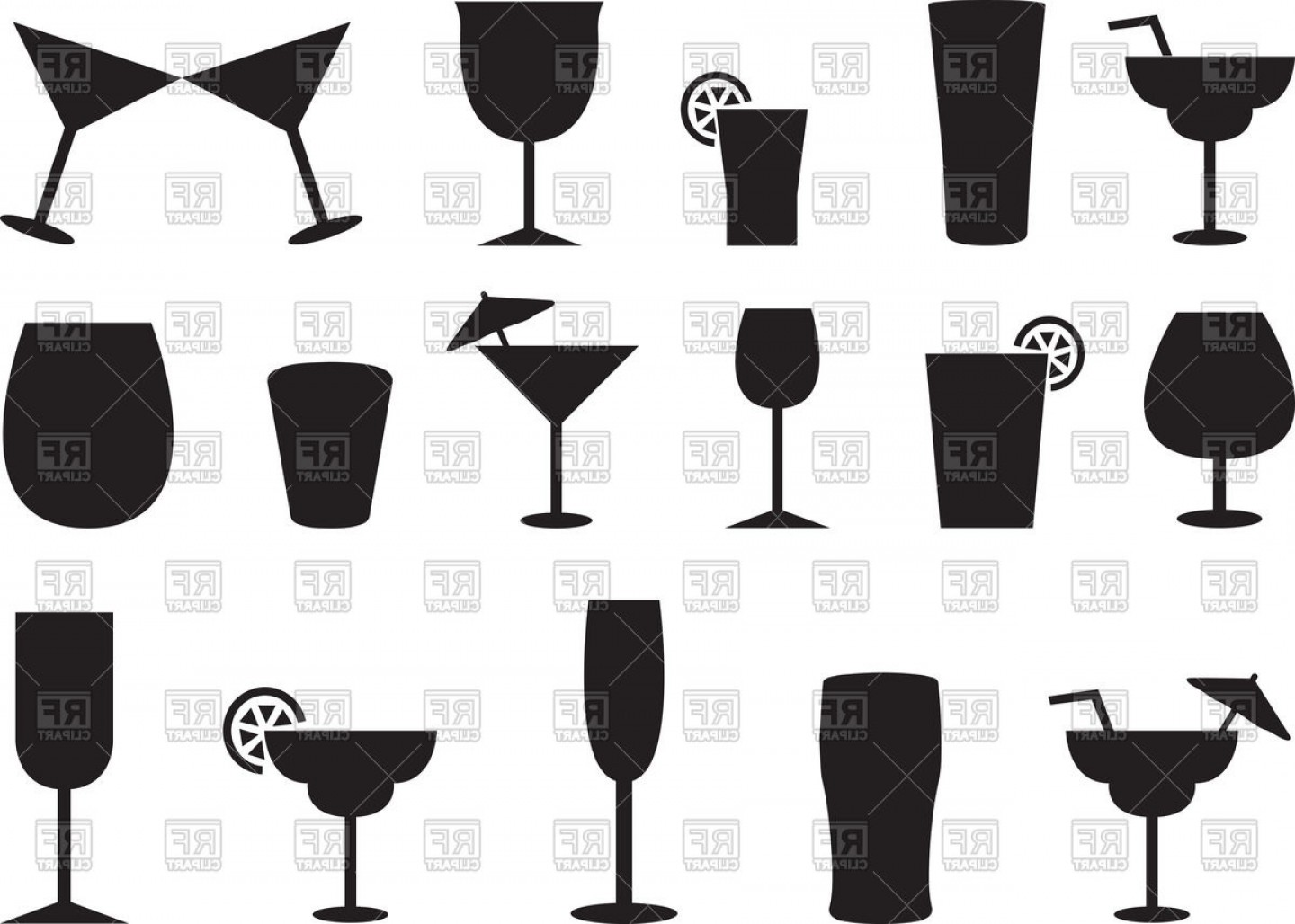 Juice Vector Black: Silhouettes Of Juice And Cocktail Glasses Vector Clipart