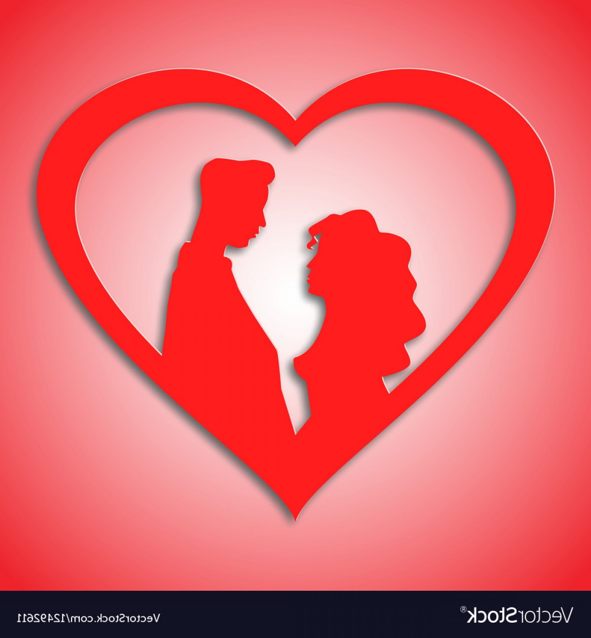 Heart Card Vector: Silhouettes Of Loving Couple In Red Heart Card Vector