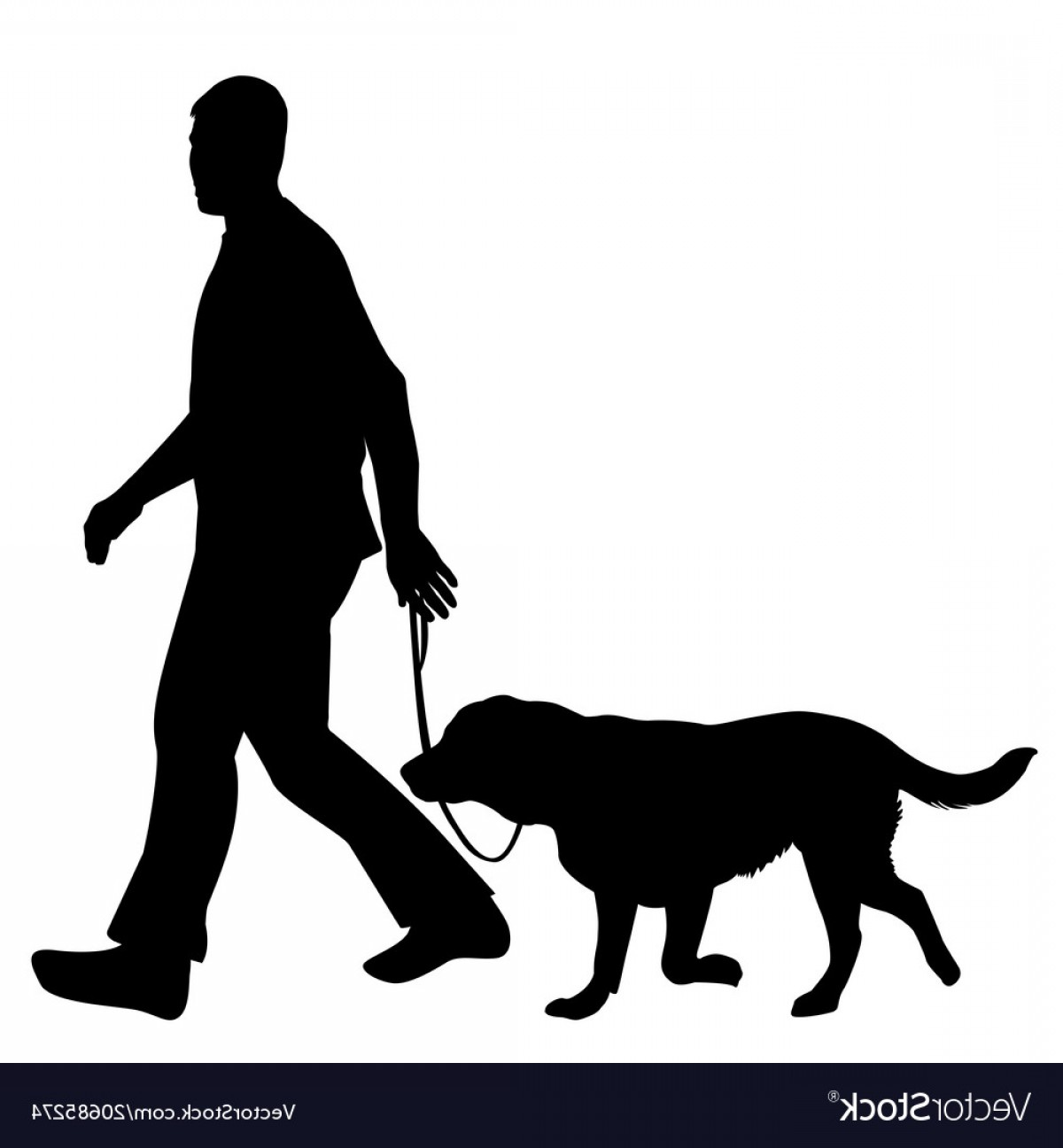 Vector Silhouette Dog Walk: Silhouettes Of Man And Dog Vector