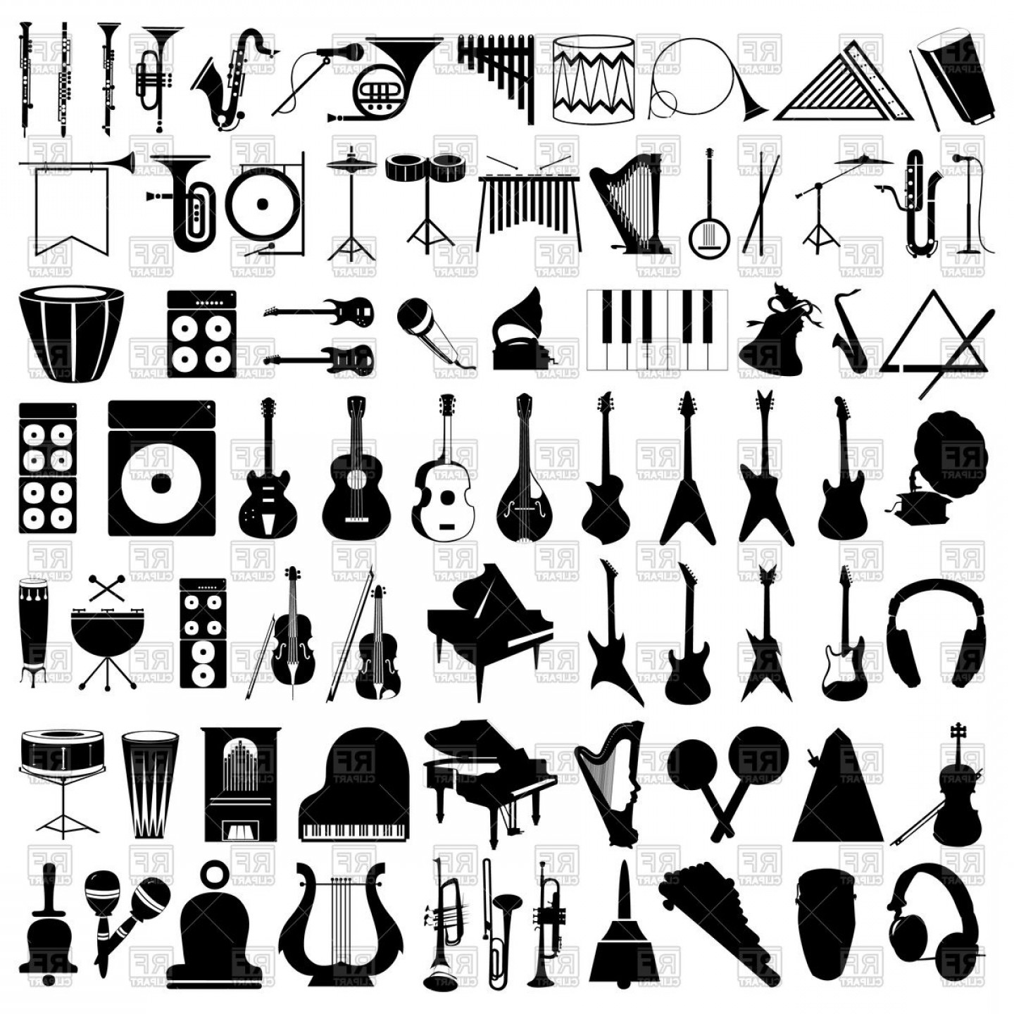 Free EPS Vector Art: Silhouettes Of Musical Instruments Vector Clipart
