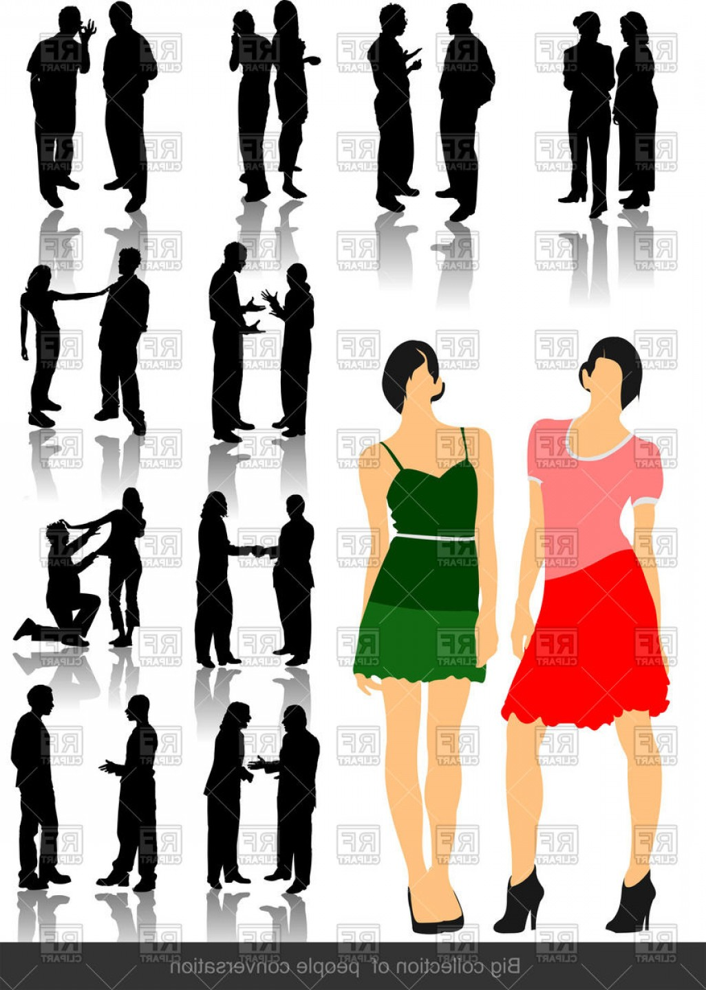 Vector People Man: Silhouettes Of Office People Man And Woman Group Vector Clipart