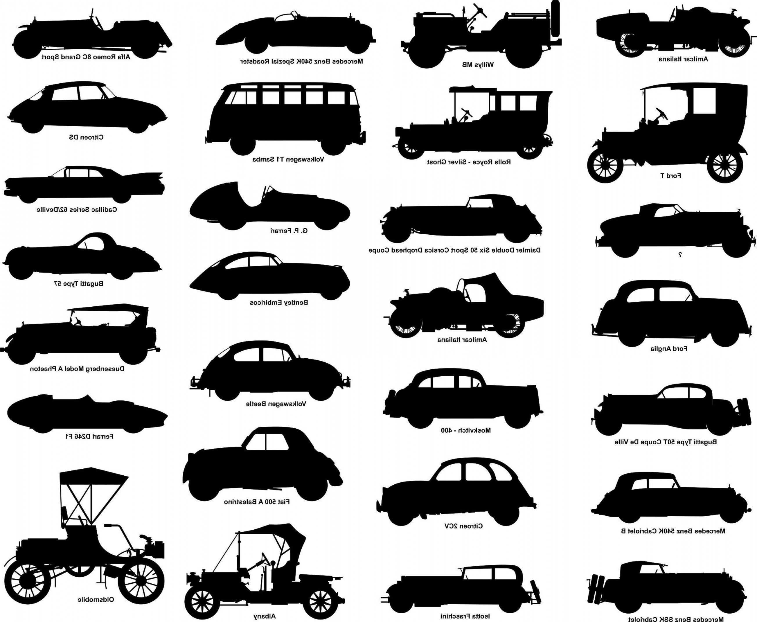 Falcon 50 Vector 2D CAD Drawings: Silhouettes Of Old Cars Dwg Svg Laser