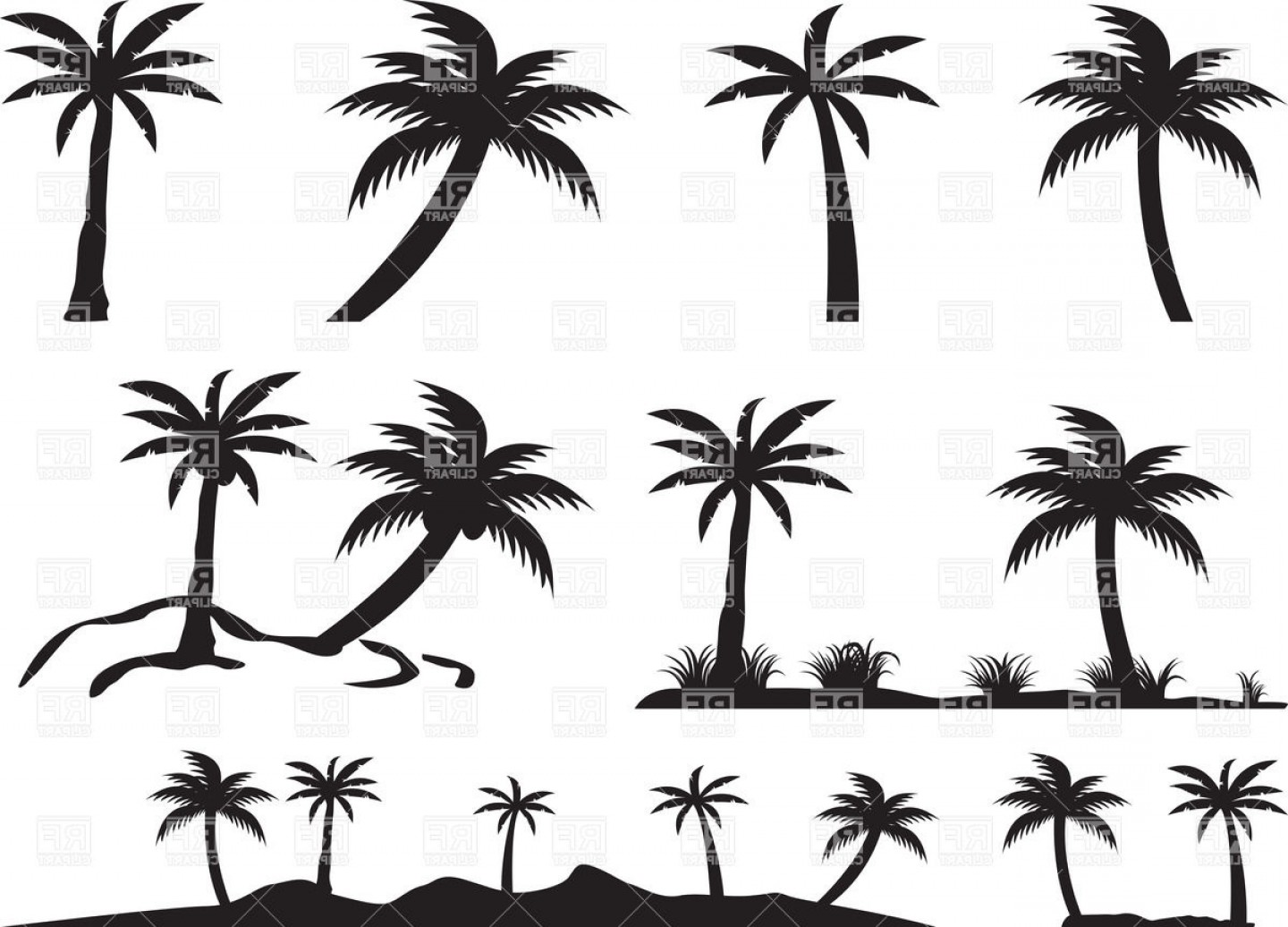 Tree Silhouette Vector Clip Art: Silhouettes Of Palm Trees And Islands Vector Clipart