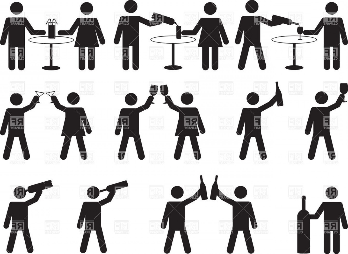 Alcohol Vector: Silhouettes Of People Drinking Alcohol Vector Clipart