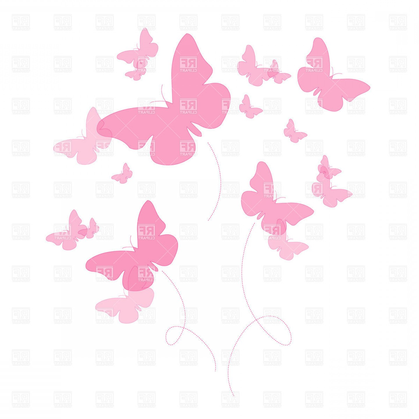 Vector Butterfly Clip Art: Silhouettes Of Pink Butterfly Vector Clipart
