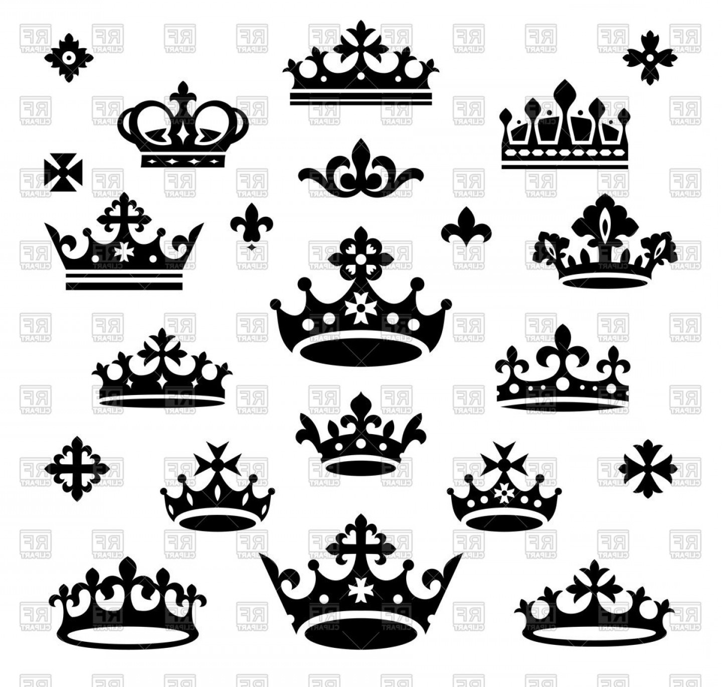 Crown Vector Clip Art: Silhouettes Of Queen And Royal Crown Vector Clipart