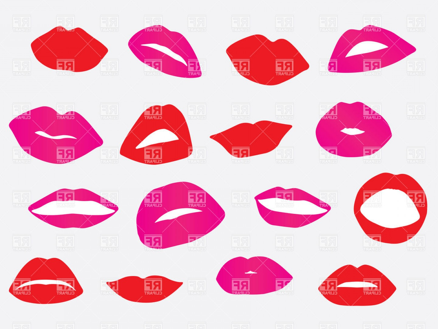 Pink Lips Vector Clip Art: Silhouettes Of Red And Pink Lips Vector Clipart