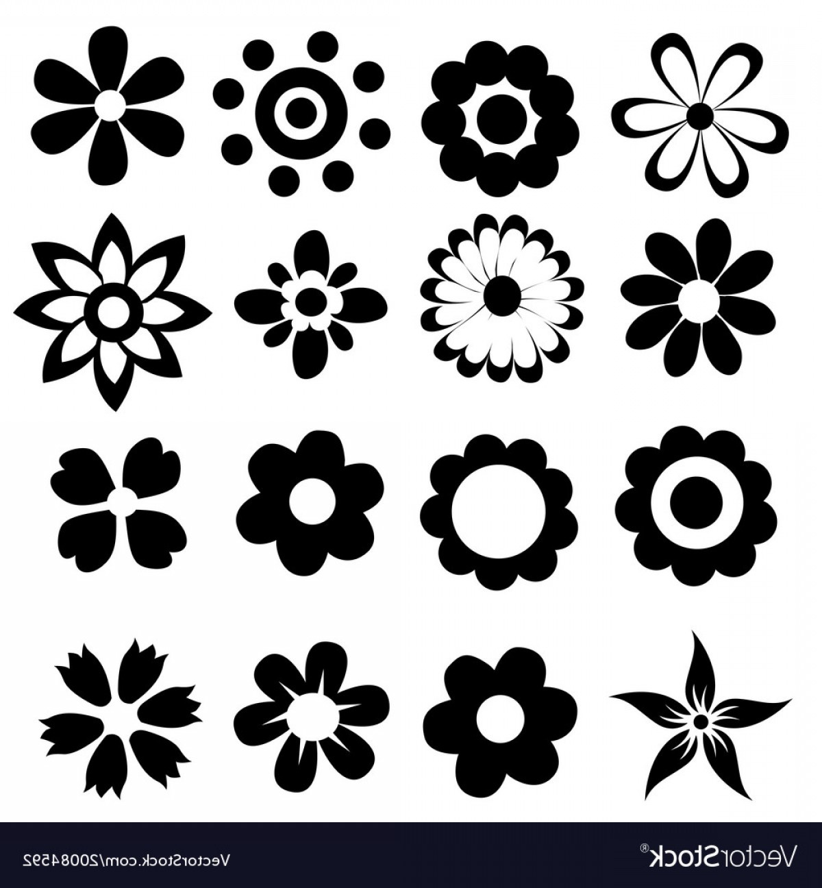 Simple Vector Daisy: Silhouettes Of Simple Flowers Vector