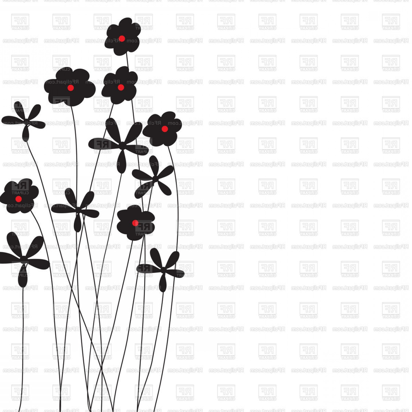 Wildflowers Outline Vector: Silhouettes Of Simple Wildflowers Vector Clipart