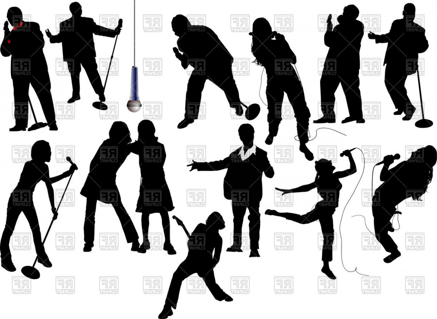 Singers Vector Art: Silhouettes Of Singers Men And Women Vector Clipart