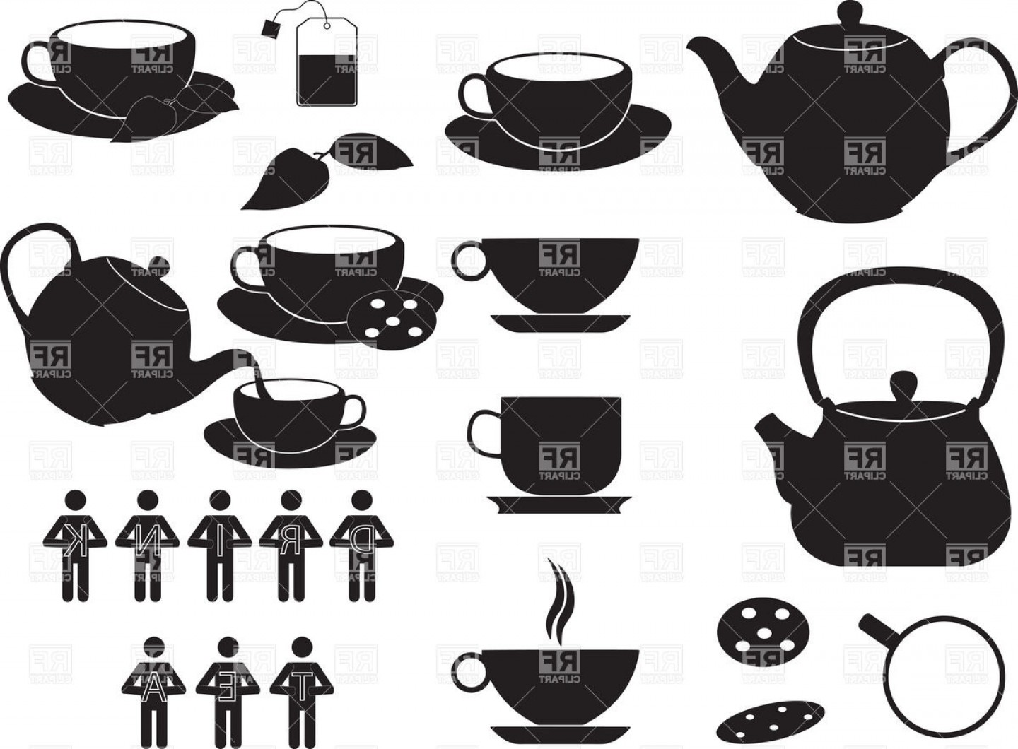 Teapot And Cup Vector: Silhouettes Of Tea Cups Kettles And Teapots Vector Clipart