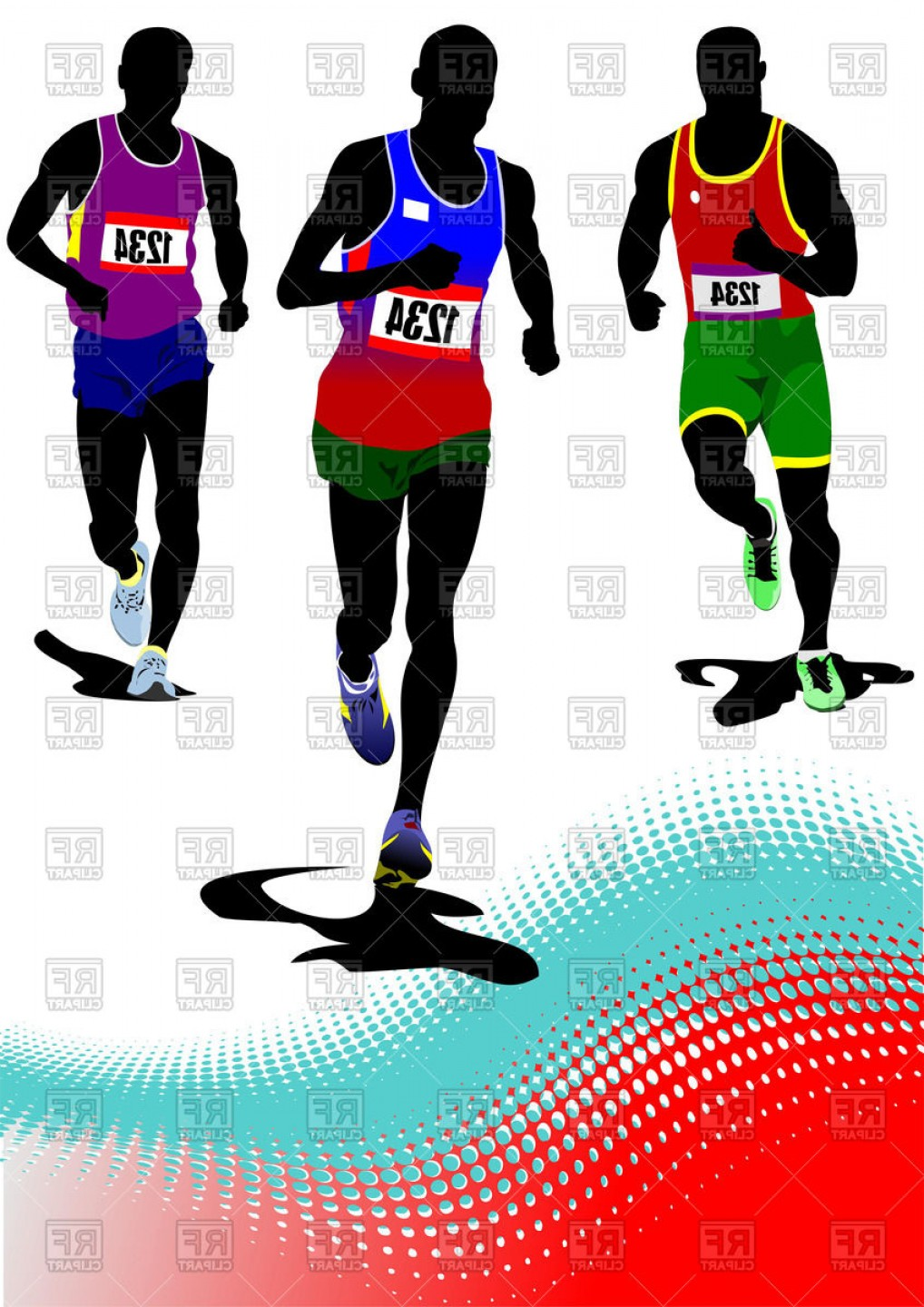 Athlete Vectors: Silhouettes Of The Running Men Athletes Vector Clipart