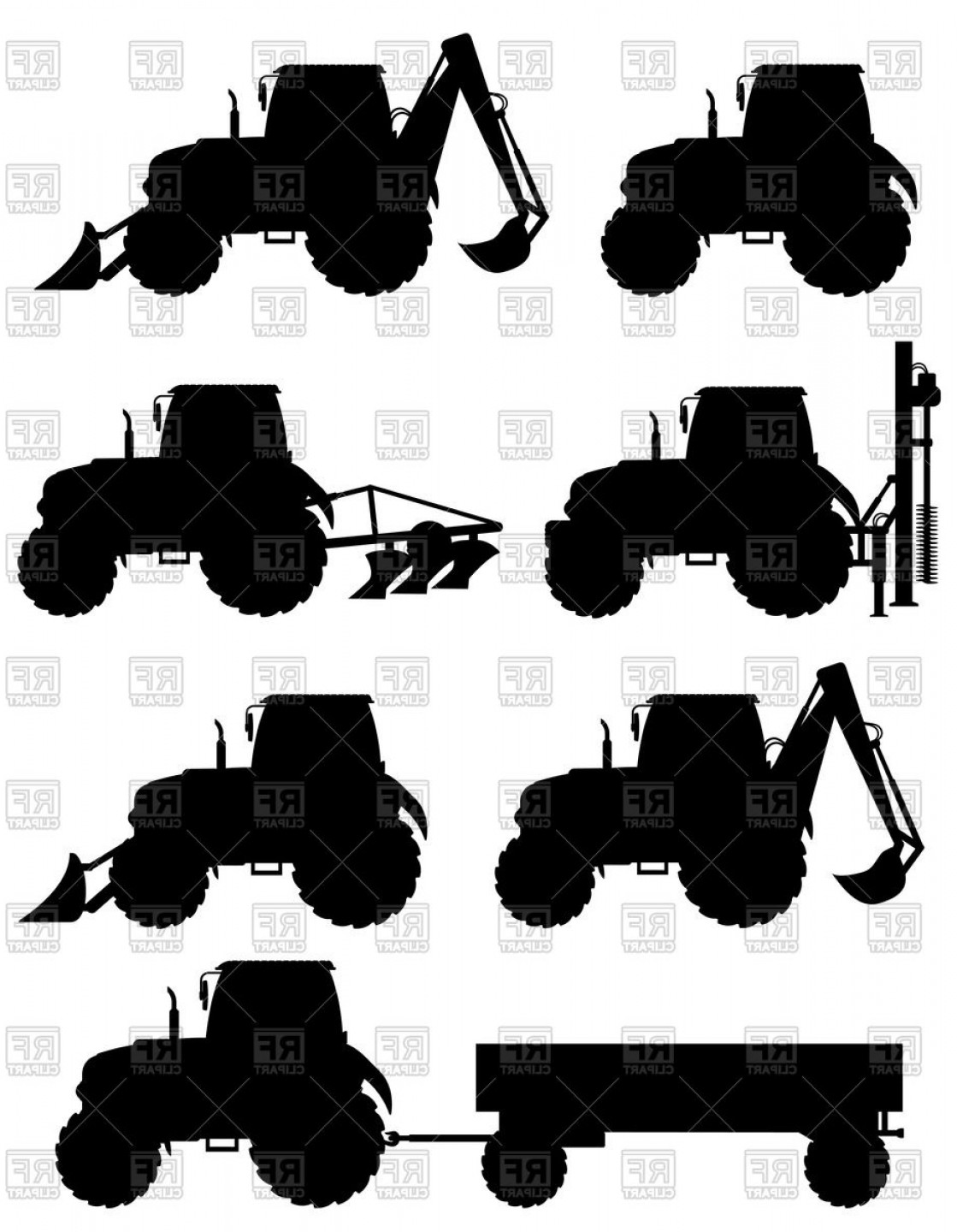 Tractor Silhouette Vector Art: Silhouettes Of Tractors Vector Clipart