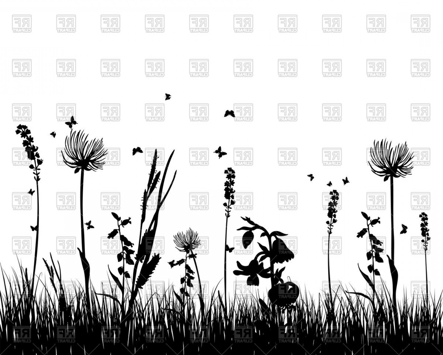 Wildflowers Outline Vector: Silhouettes Of Wild Flowers Vector Clipart