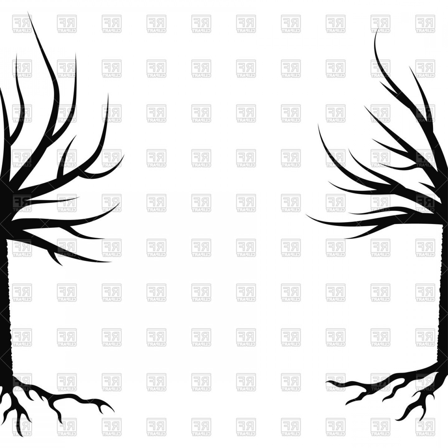 Winter Tree Silhouette Vector: Silhouettes Of Winter Trees Vector Clipart