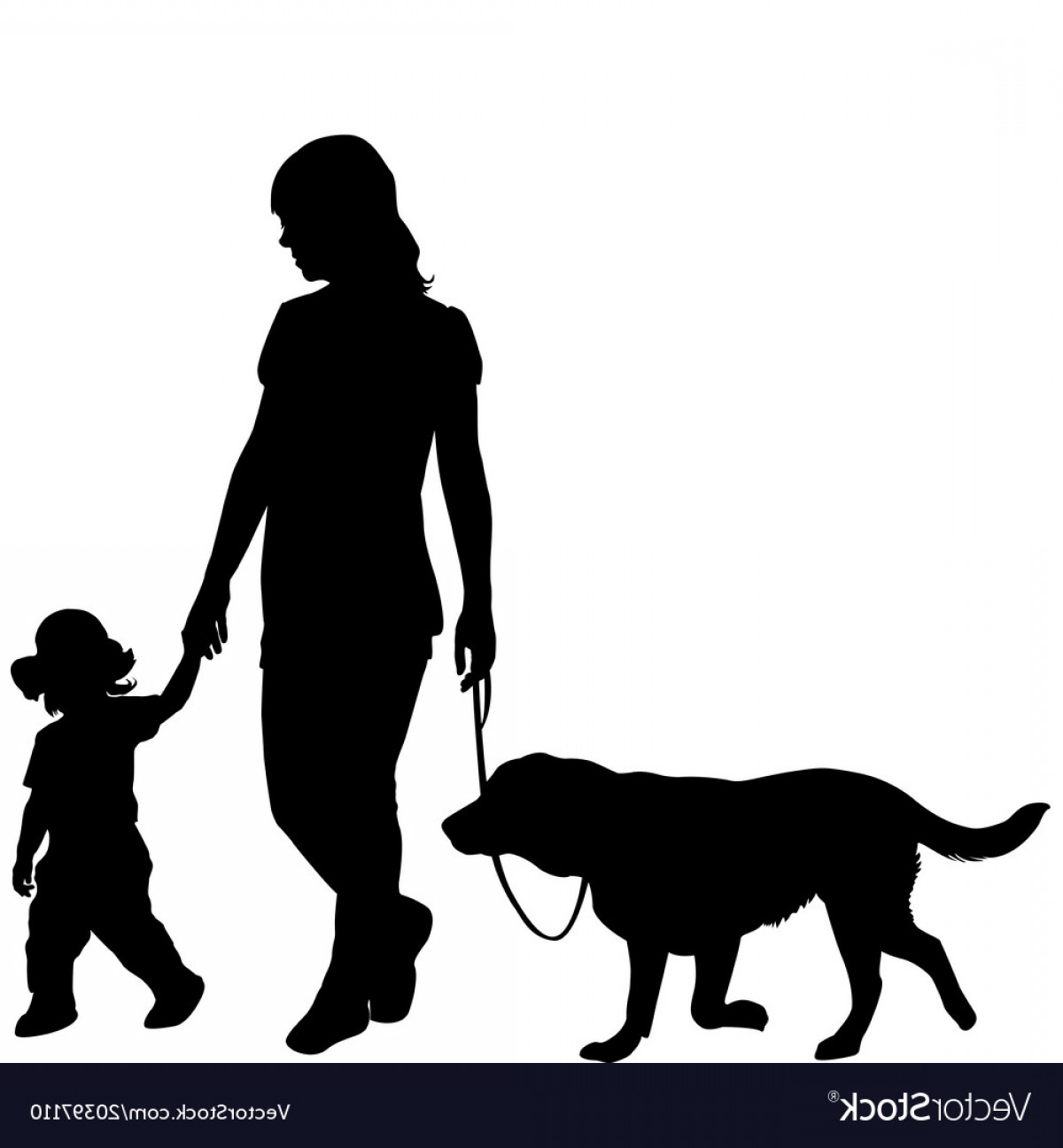 Vector Silhouette Dog Walk: Silhouettes Of Woman With Kid And Dog Vector
