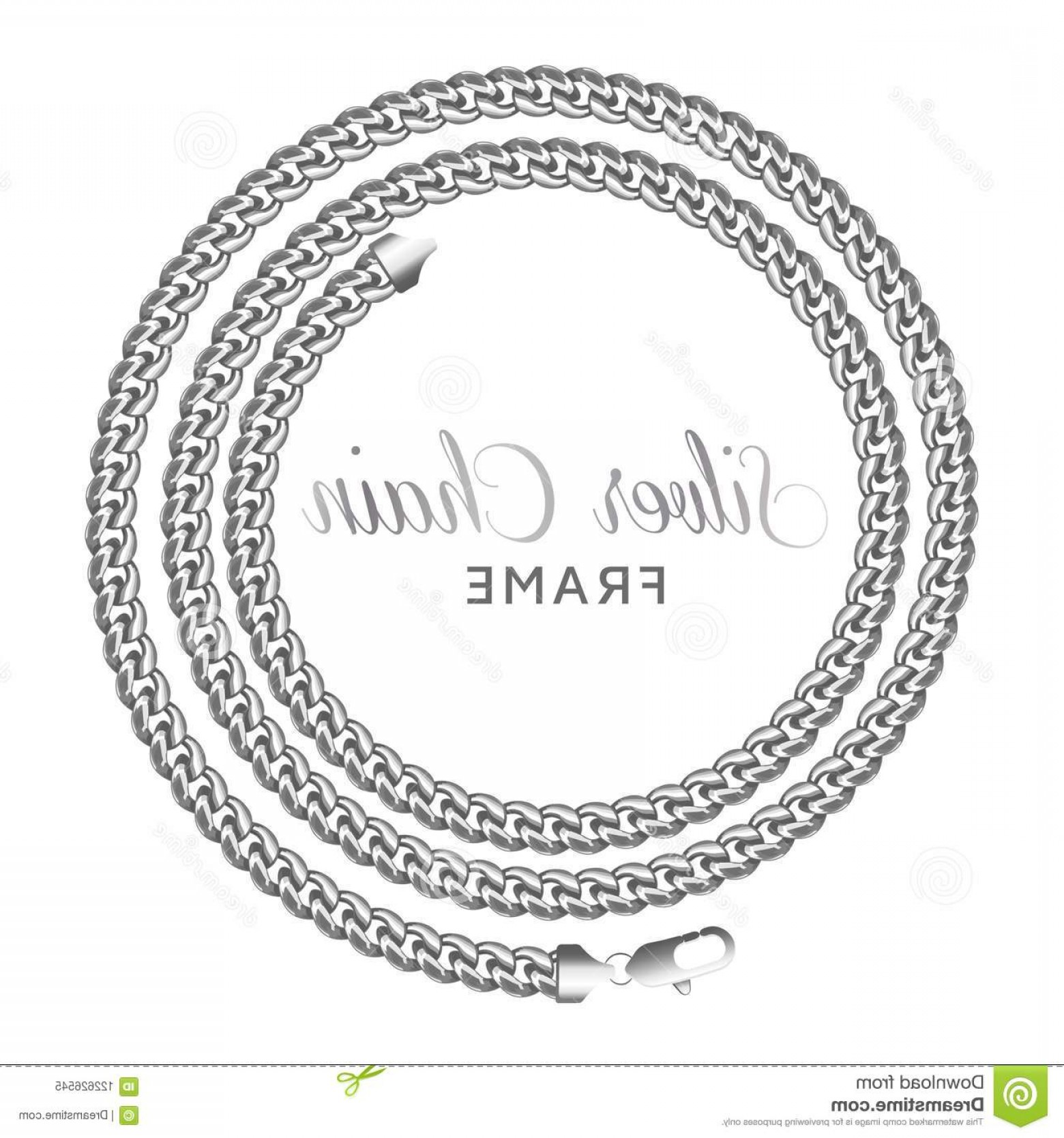 Wreath Circle Logo Vector: Silver Chain Round Spiral Border Frame Wreath Circle Shape Jewelry Design Text Frame Realistic Vector Illustration Isolated Image