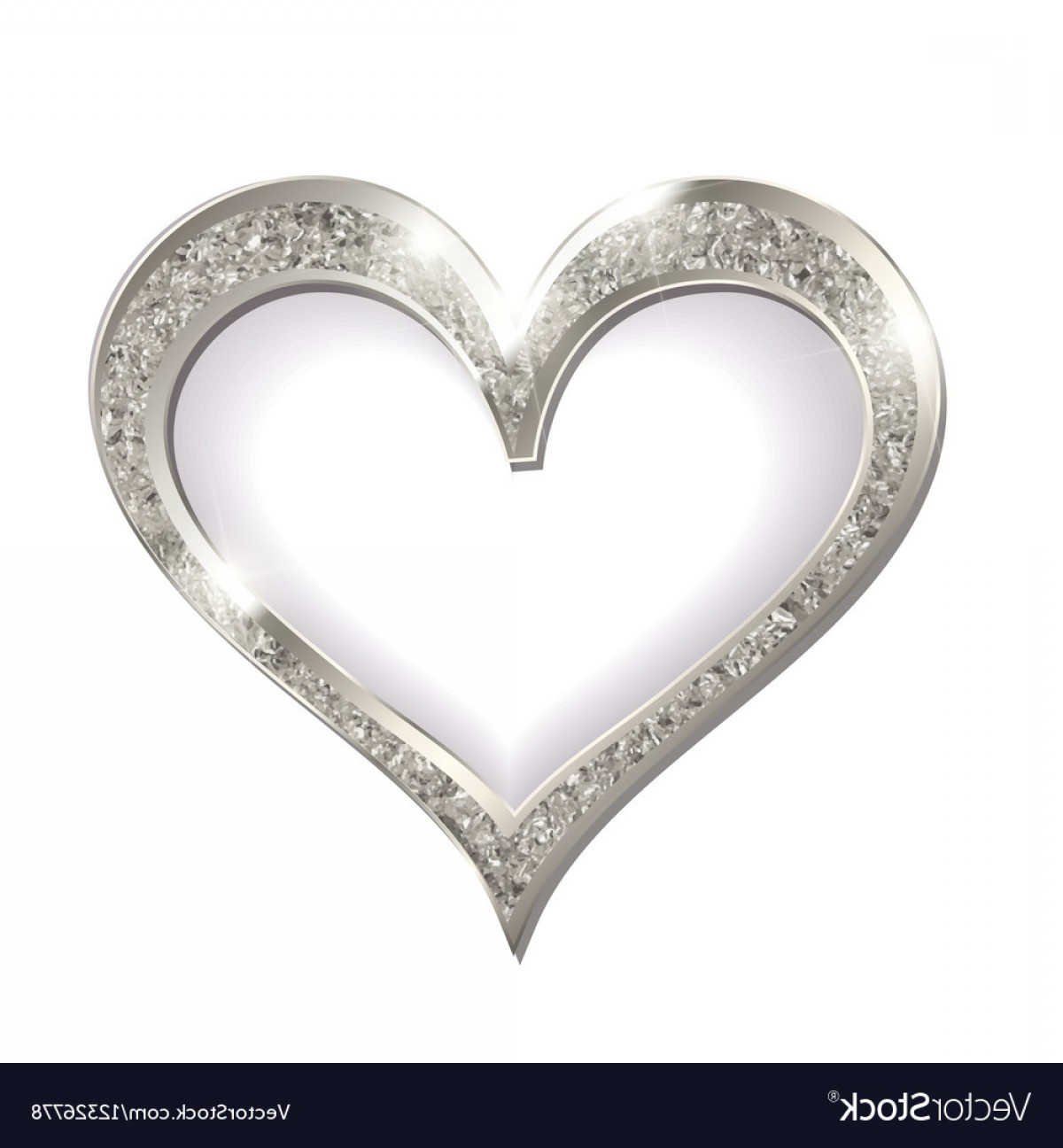 Silver Heart Vector: Silver Frame Heart On A White Background Vector