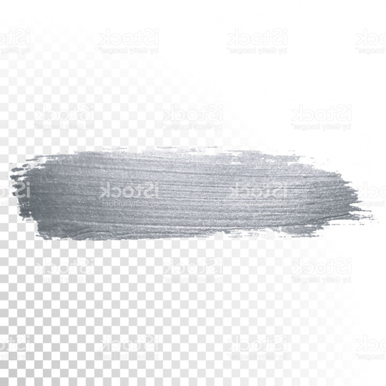 Paint Brushstroke Vector Clip Art: Silver Glitter Paint Brush Stroke Or Abstract Dab Smear With Smudge Texture On Gm