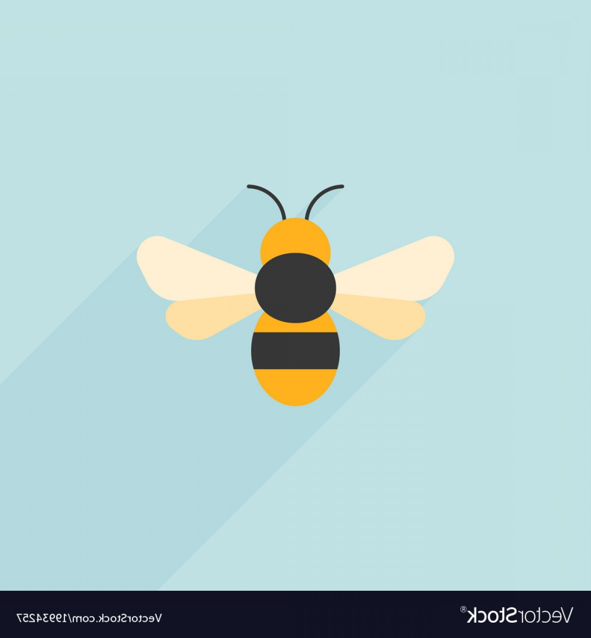 Vector Bee Icon: Simple Bee Icon Flat Design Vector