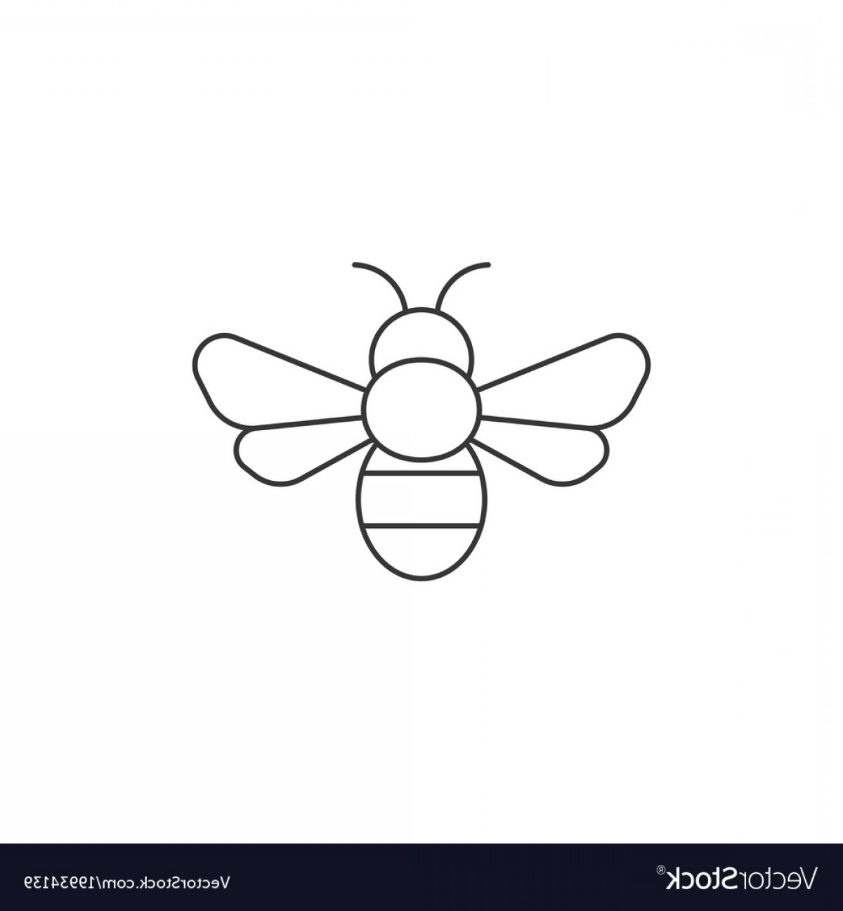 Bee Outline Vector: Simple Bee Icon Outline Icon Vector